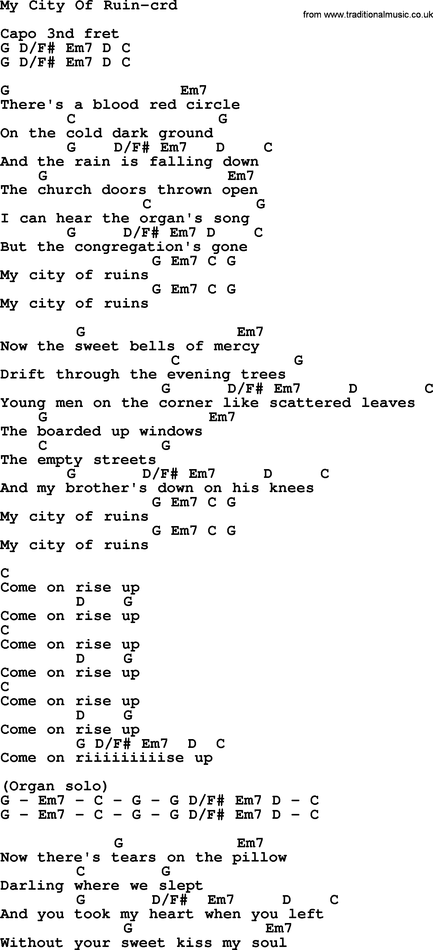 Bruce Springsteen Song My City Of Ruin Lyrics And Chords