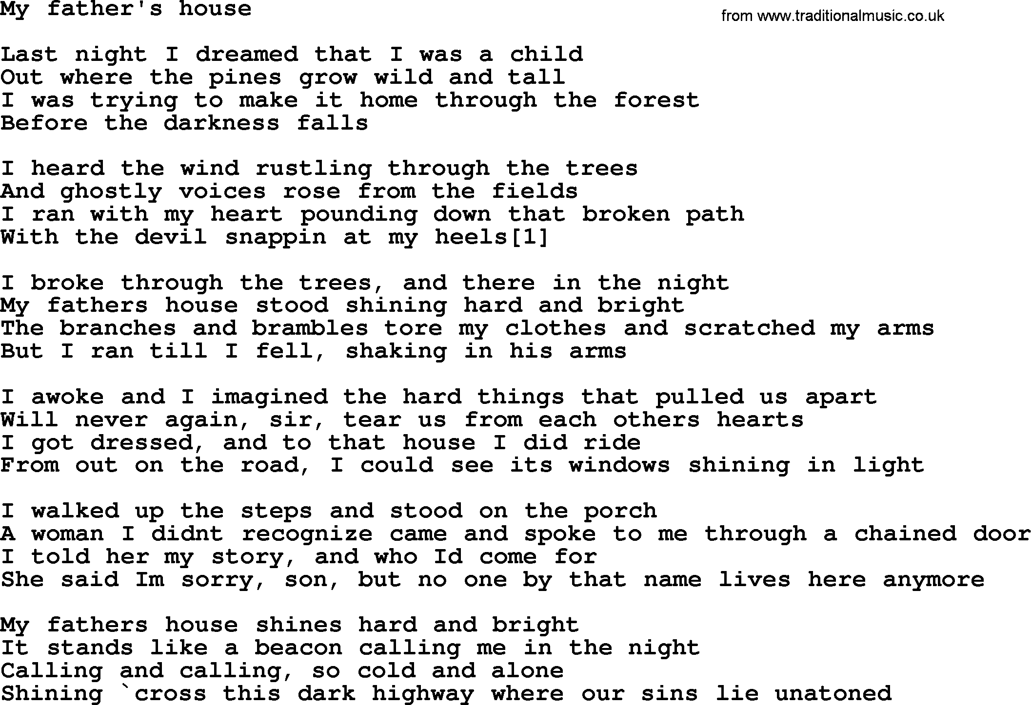 Bruce Springsteen song My Fathers House lyrics