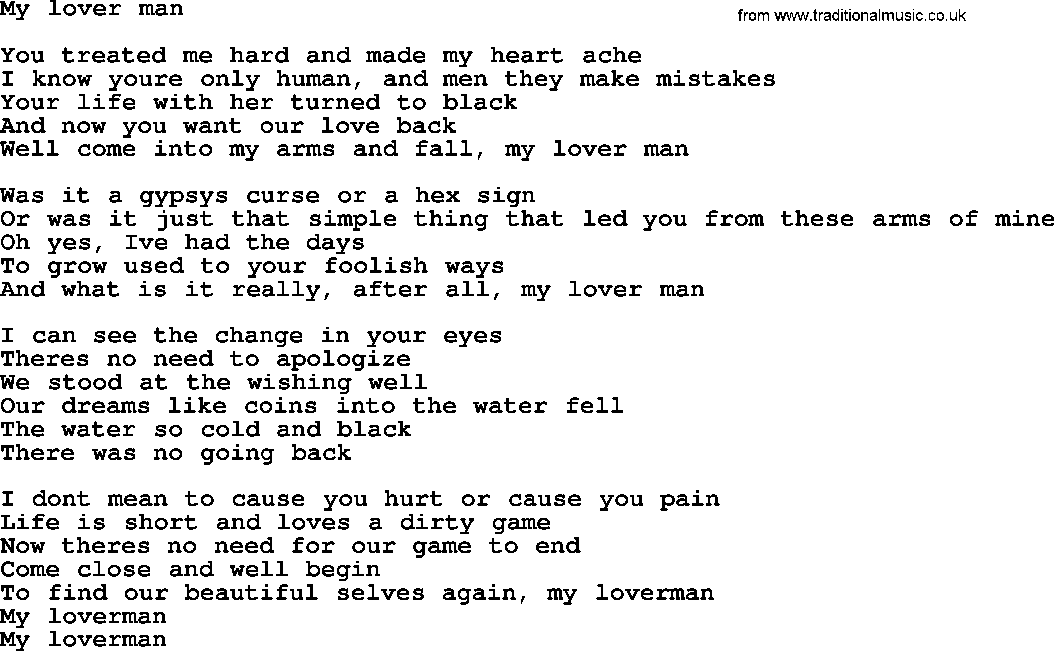 You only know your lover lyrics