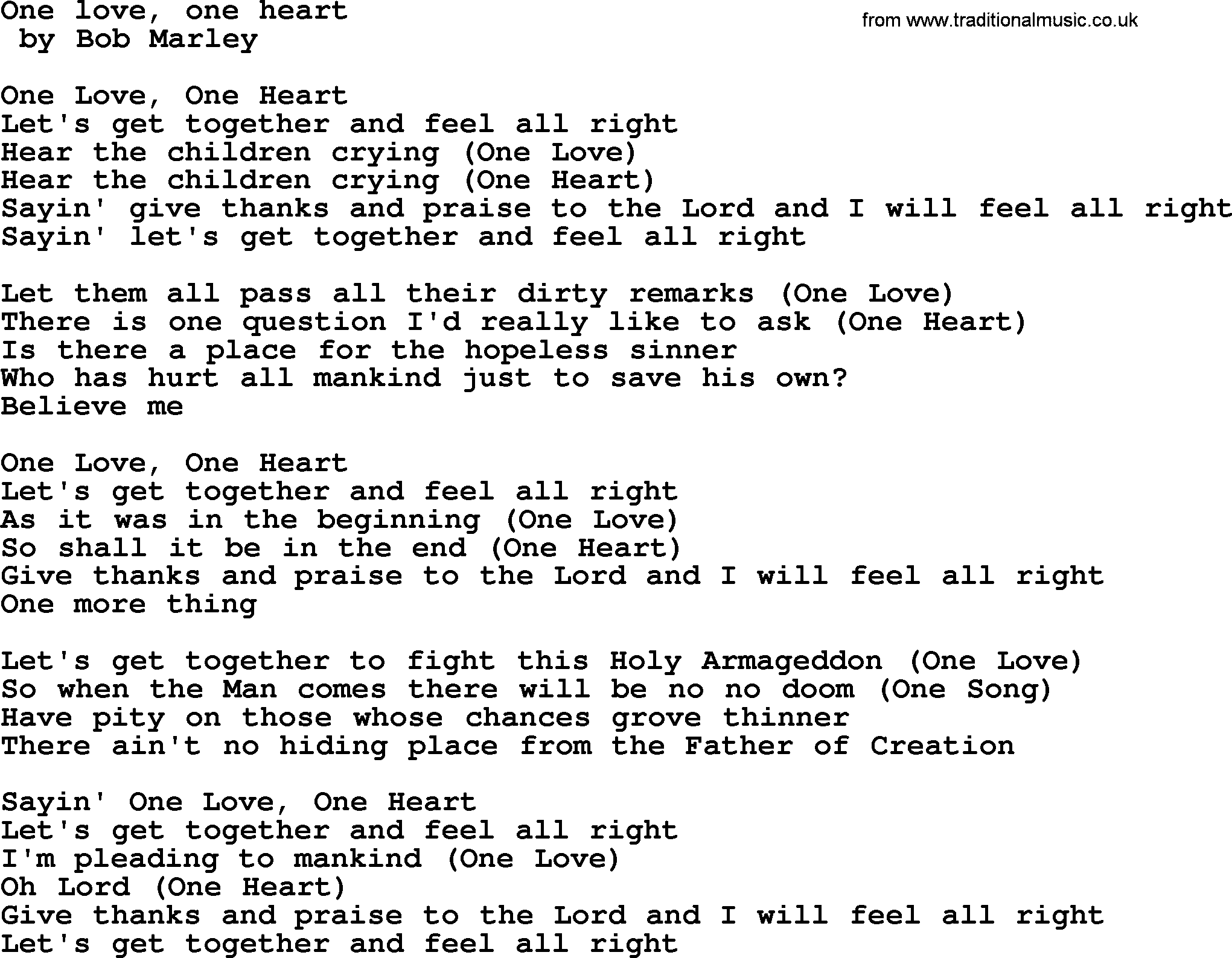 Bruce Springsteen song: One Love, One Heart, lyrics
