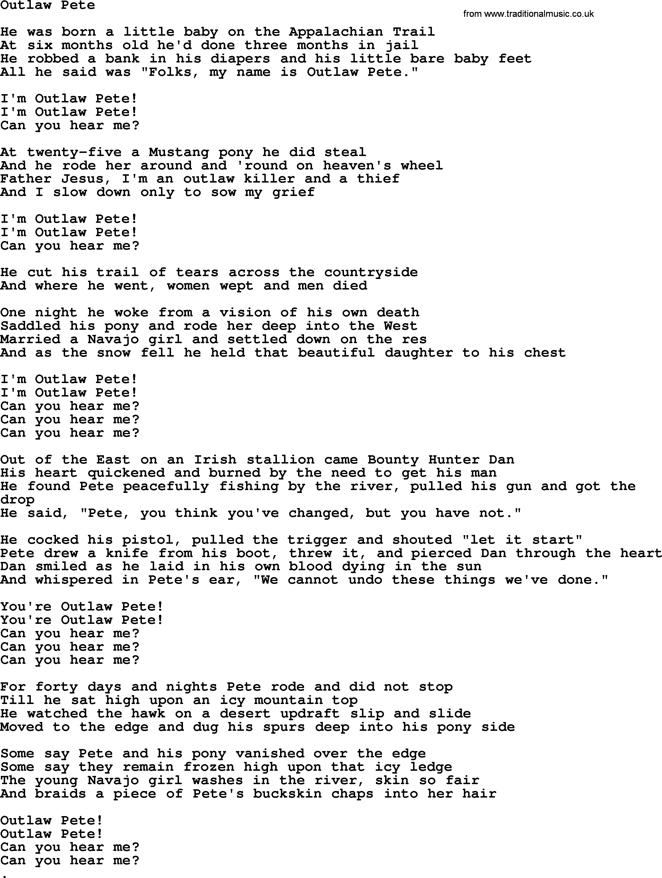 Bruce Springsteen Song Outlaw Pete Lyrics