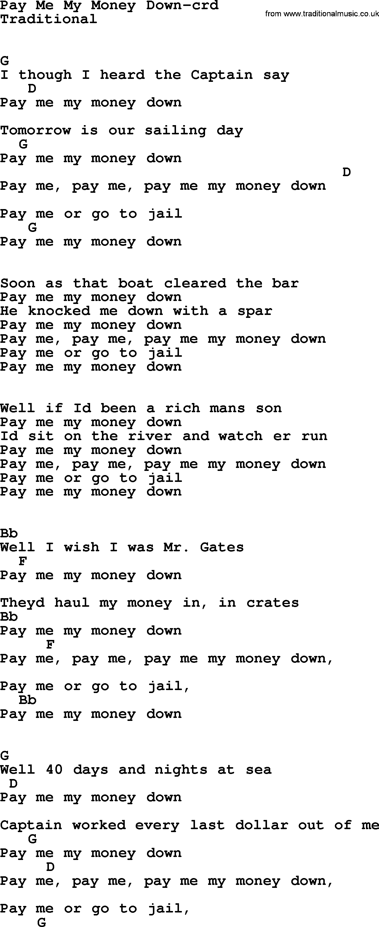 Bruce Springsteen Song Pay Me My Money Down Lyrics And Chords