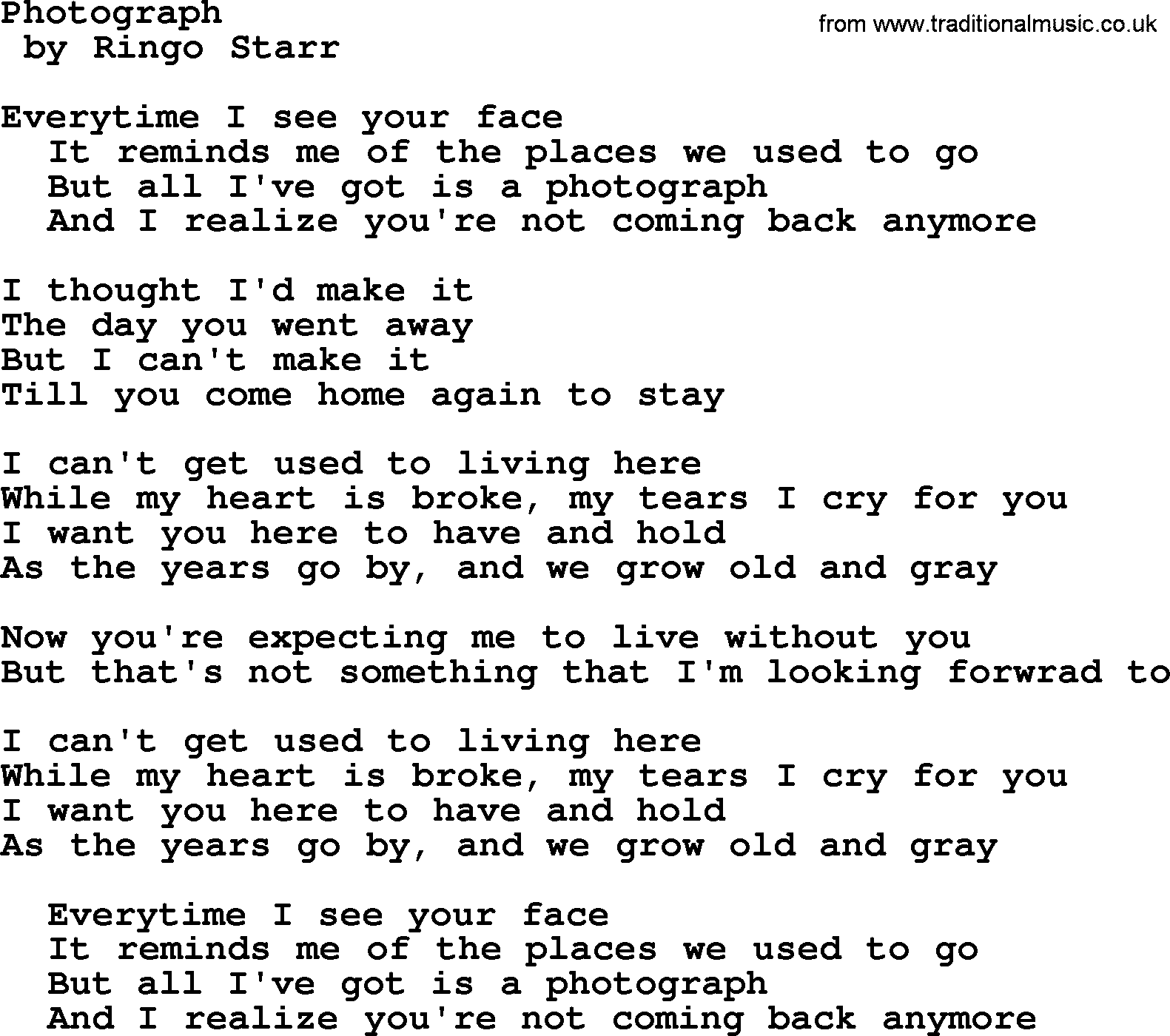 Bruce Springsteen song: Photograph, lyrics