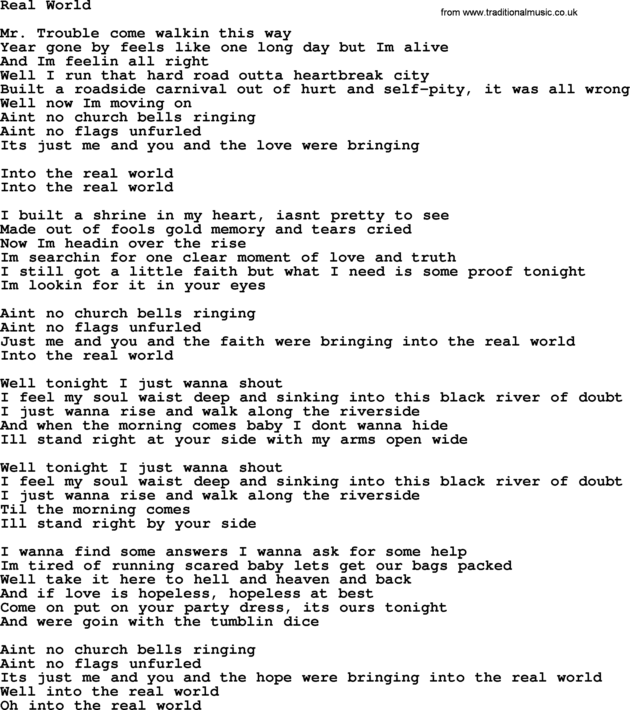 Bruce Springsteen Song Real World Lyrics