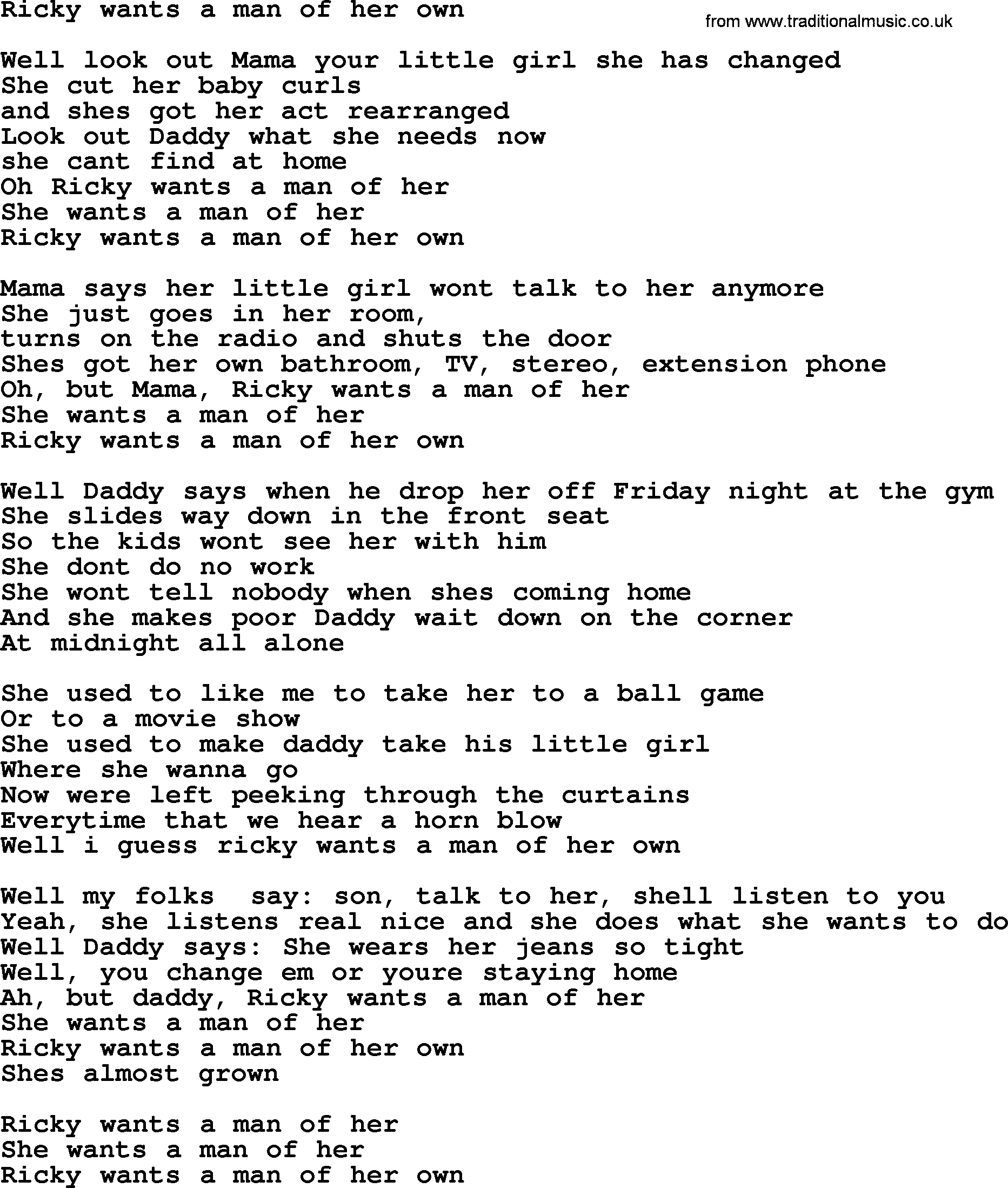 Bruce Springsteen song: Ricky Wants A Man Of Her Own, lyrics