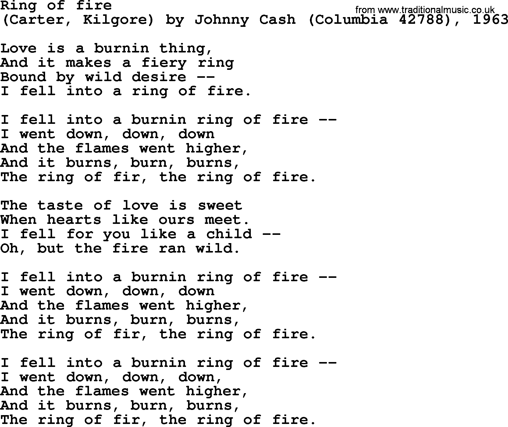 Bruce Springsteen song: Ring Of Fire, lyrics