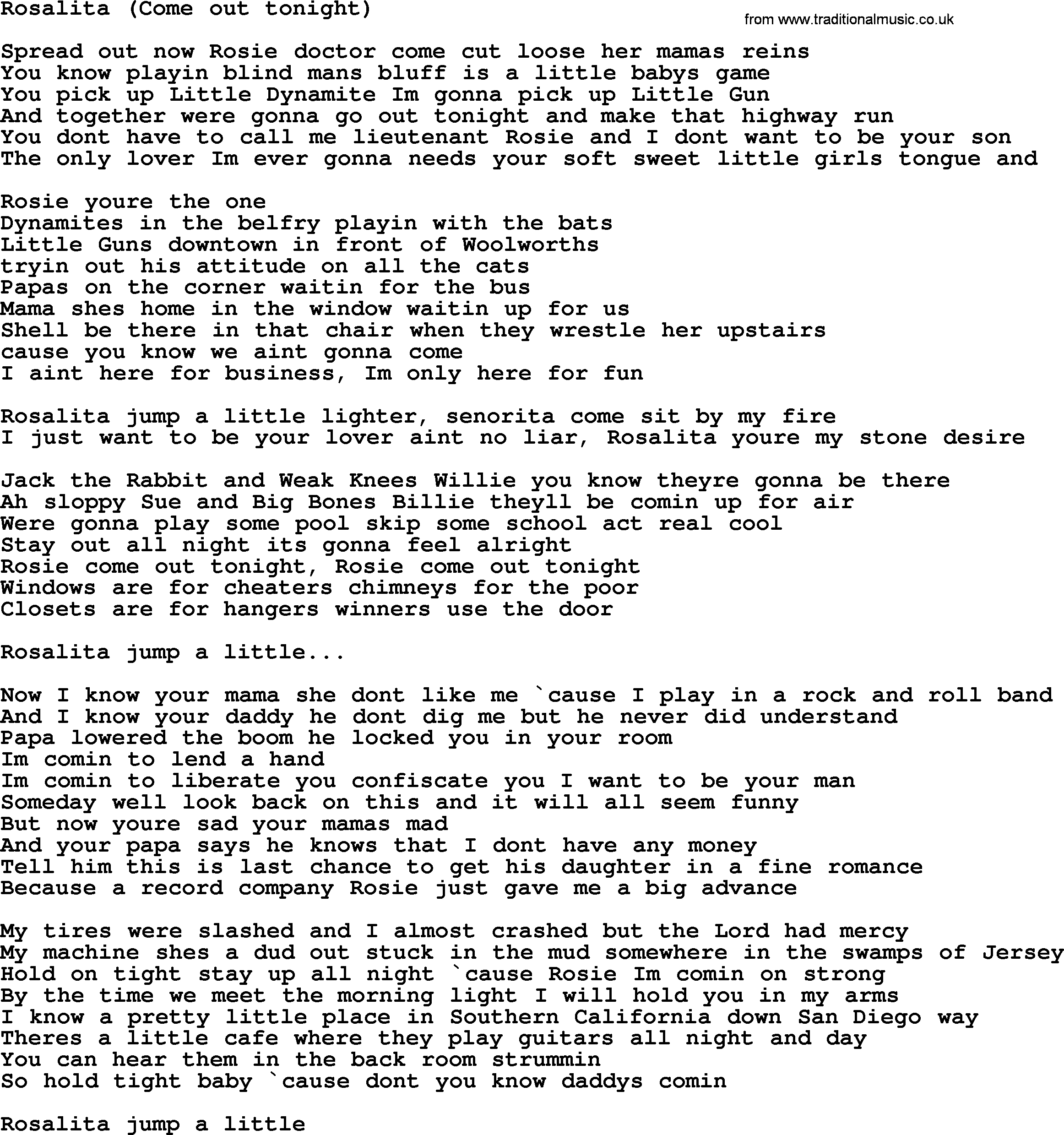 Bruce Springsteen song: Rosalita(Come Out Tonight), lyrics