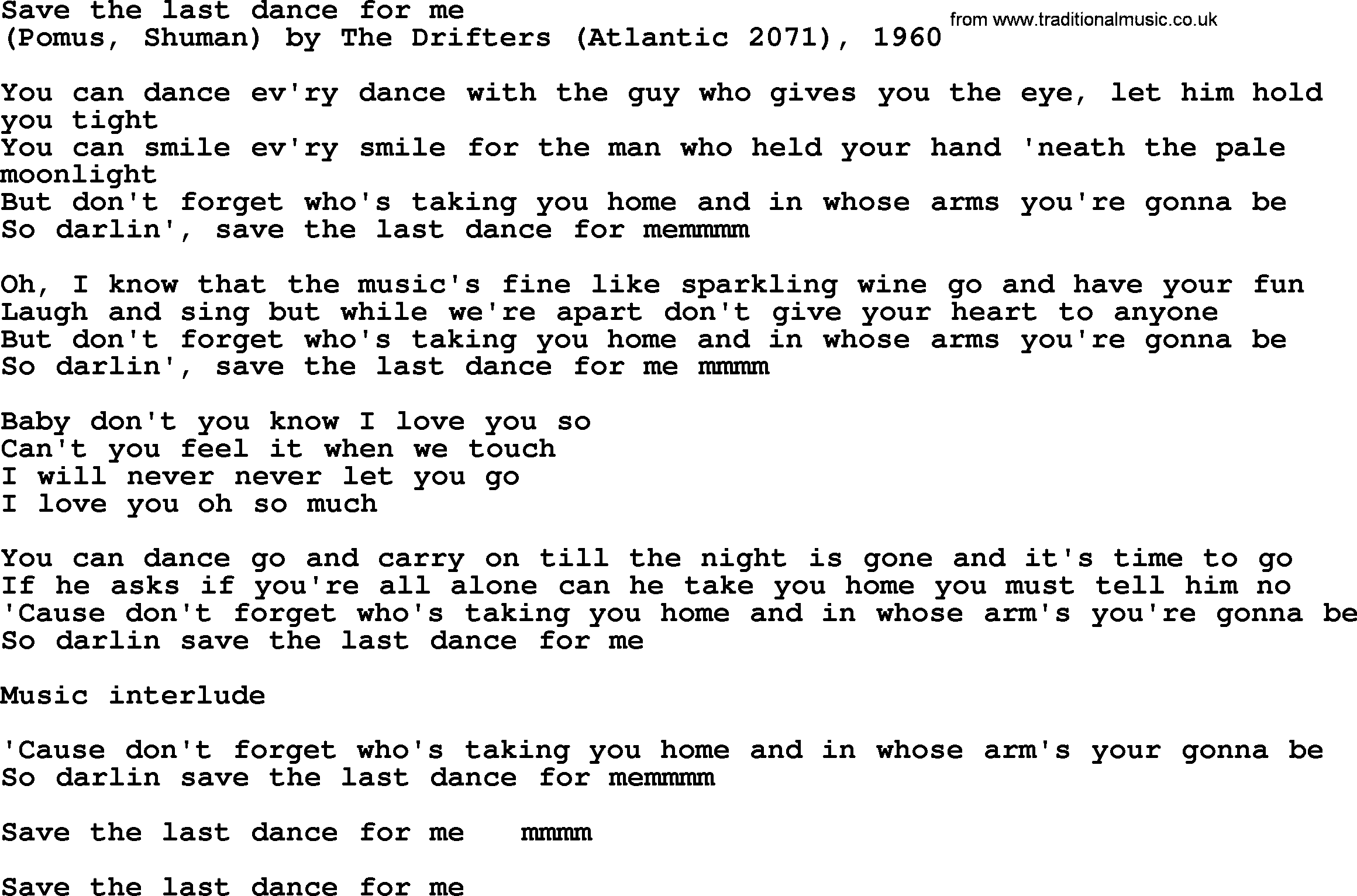 Bruce Springsteen Song Save The Last Dance For Me Lyrics