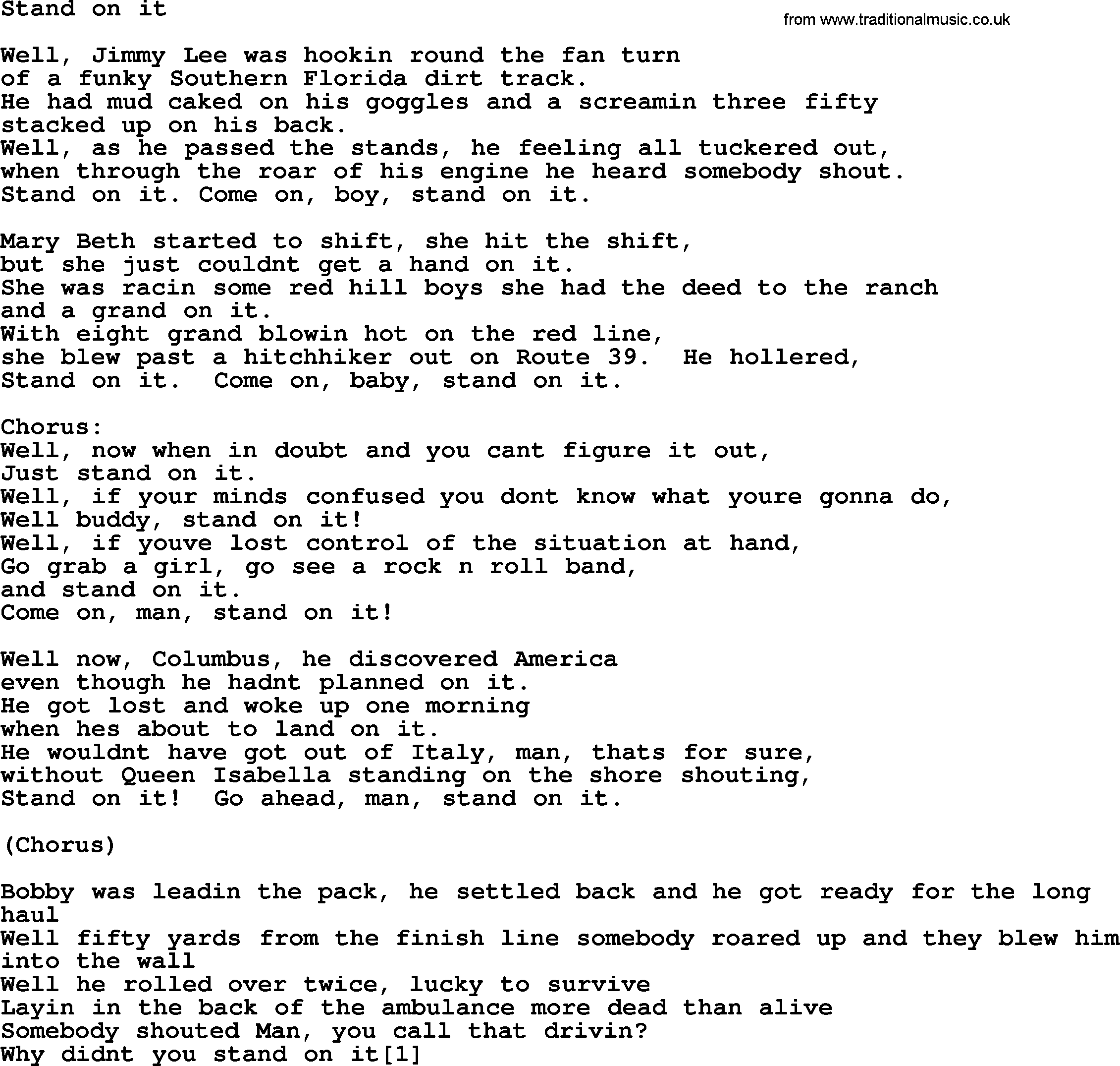 Bruce Springsteen song: Stand On It, lyrics