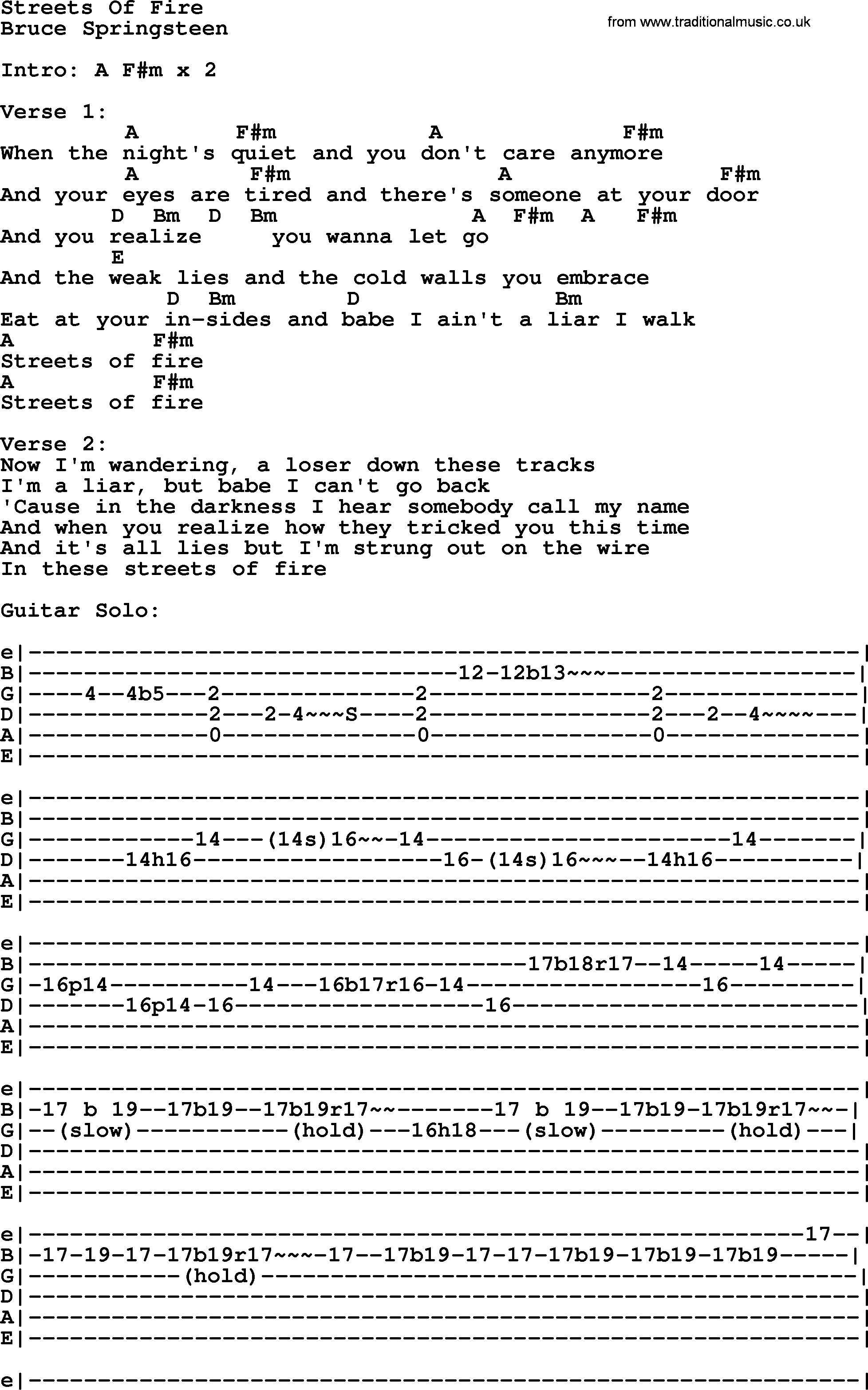 Bruce Springsteen Song Streets Of Fire Lyrics And Chords