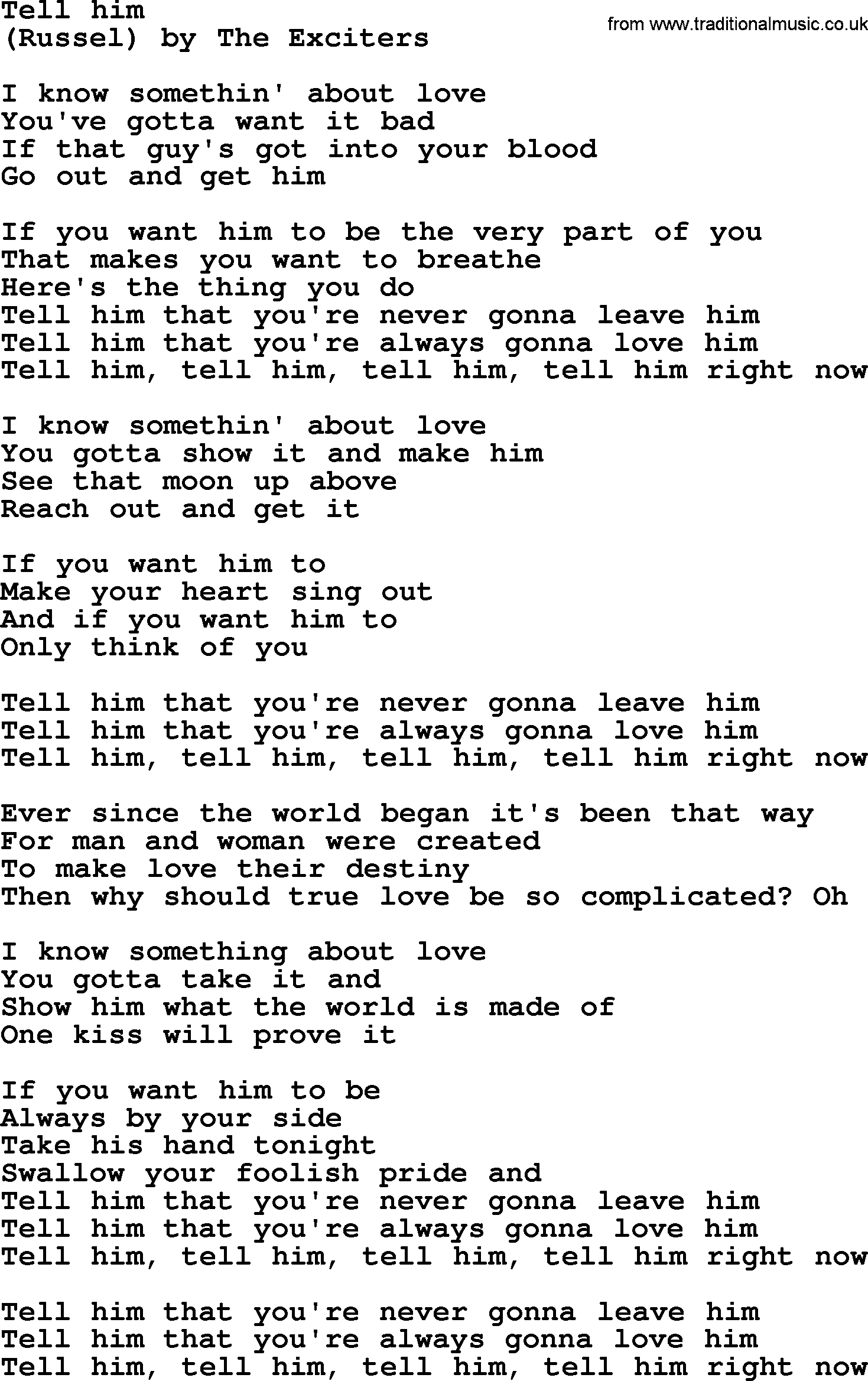 tell him that you love him lyrics