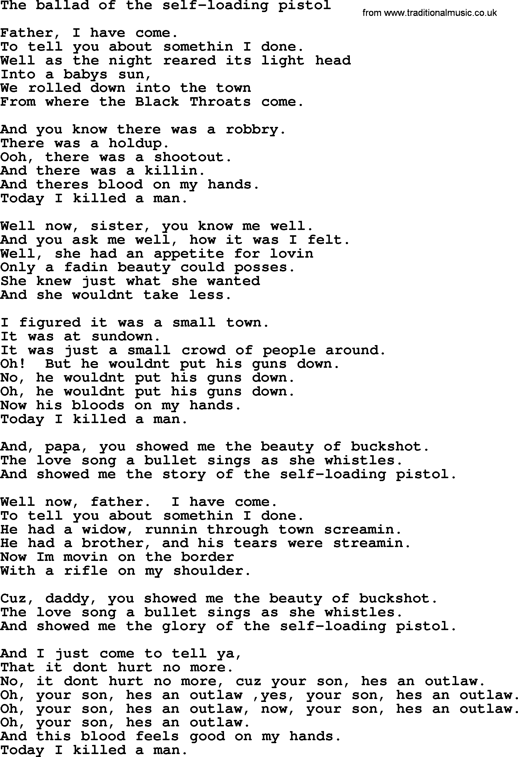 Bruce springsteen song the ballad of the self loading pistol lyrics bruce springsteen song the ballad of the self loading pistol lyrics hexwebz Image collections