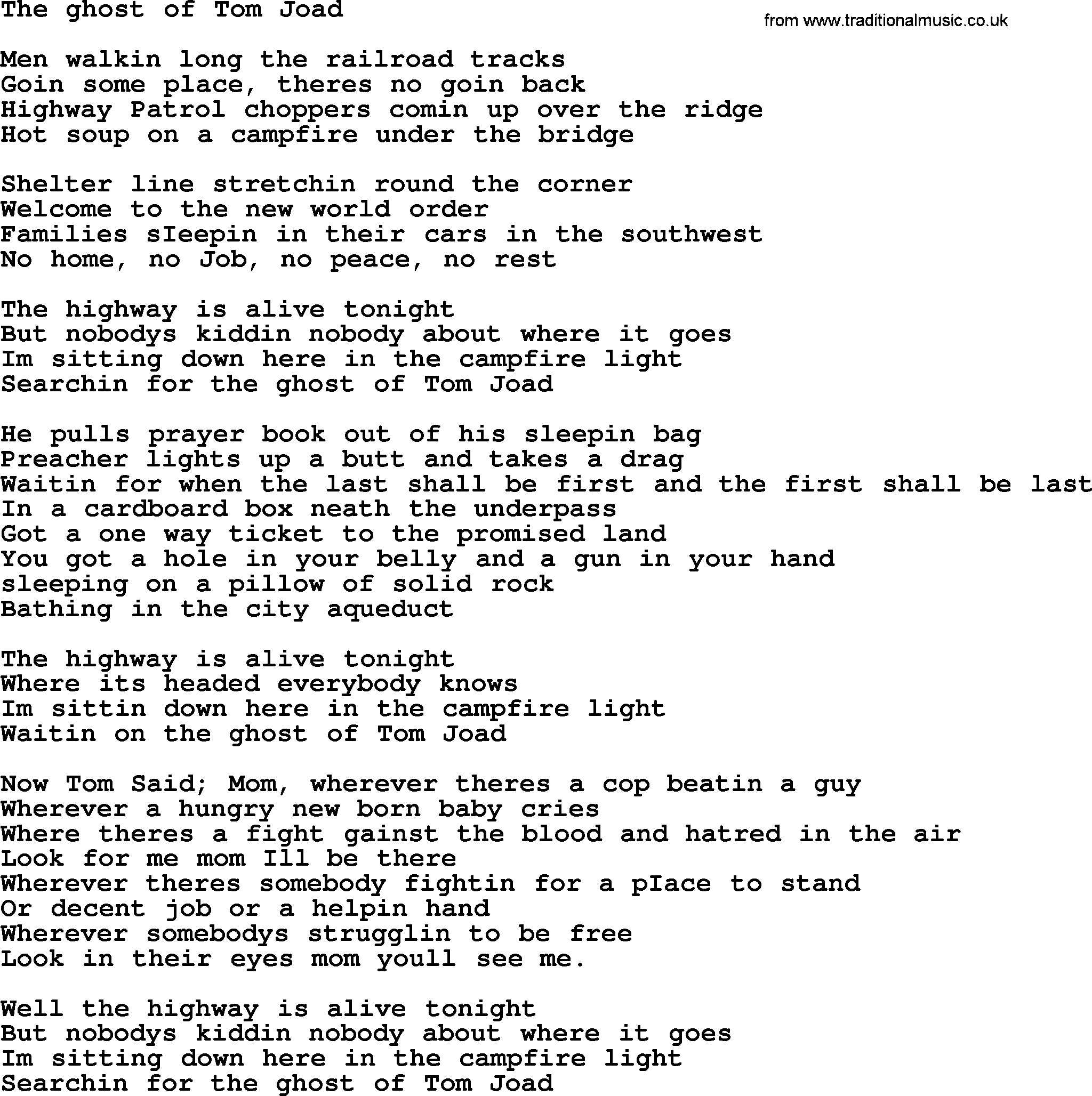 Bruce Springsteen Song The Ghost Of Tom Joad Lyrics