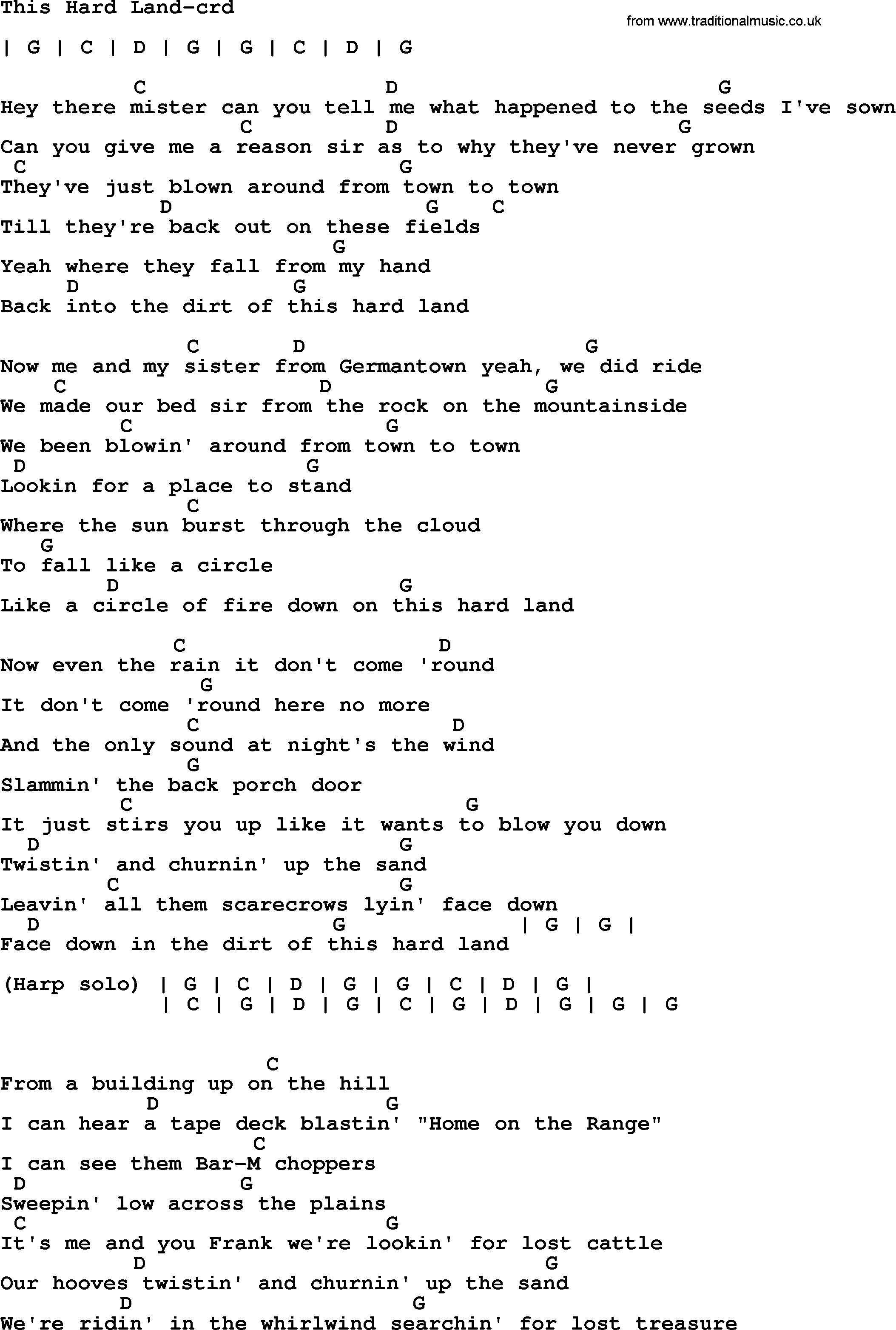 Bruce Springsteen Song This Hard Land Lyrics And Chords