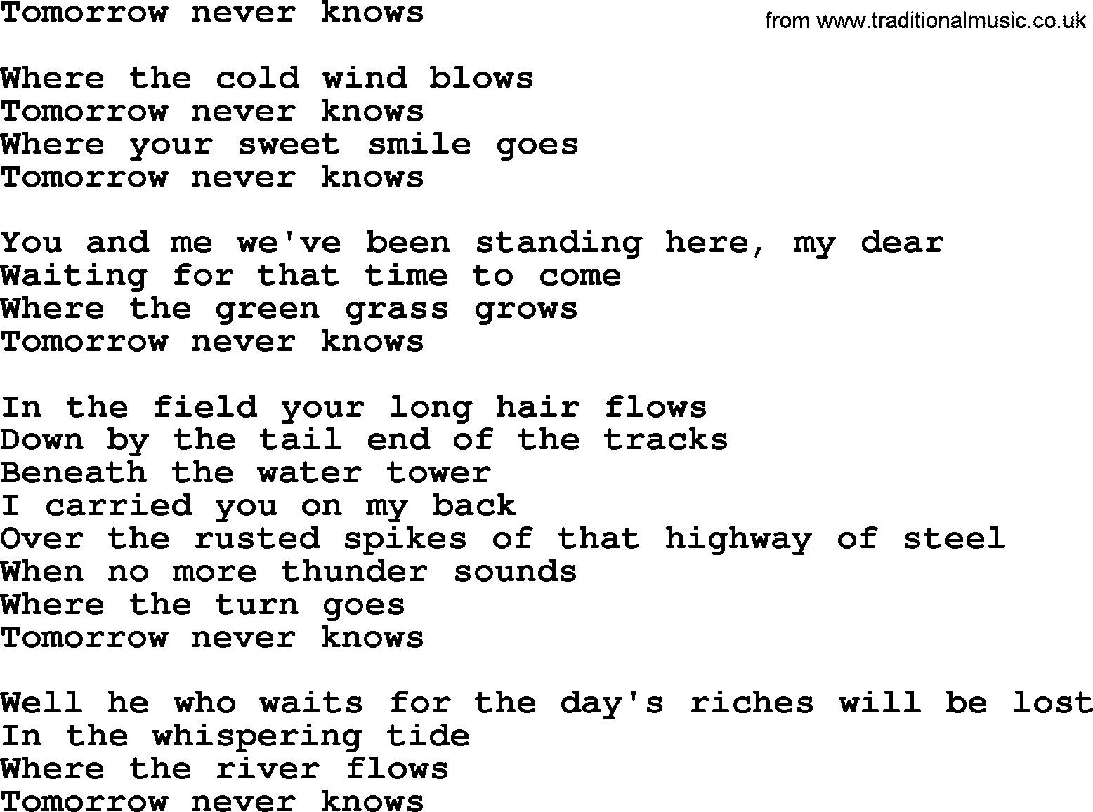 Bruce Springssong Tomorrow Never Knows Lyrics