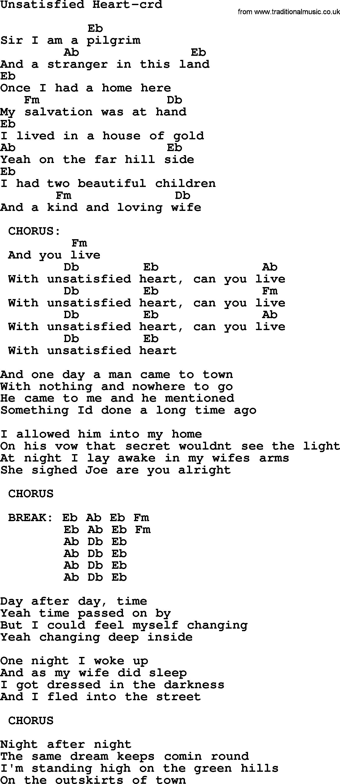 Springsteen song unsatisfied heart lyrics and chords bruce springsteen song unsatisfied heart lyrics and chords hexwebz Choice Image