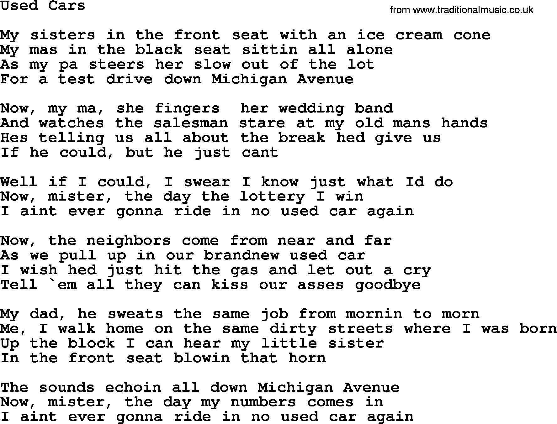 Bruce Springsteen Song: Used Cars, Lyrics