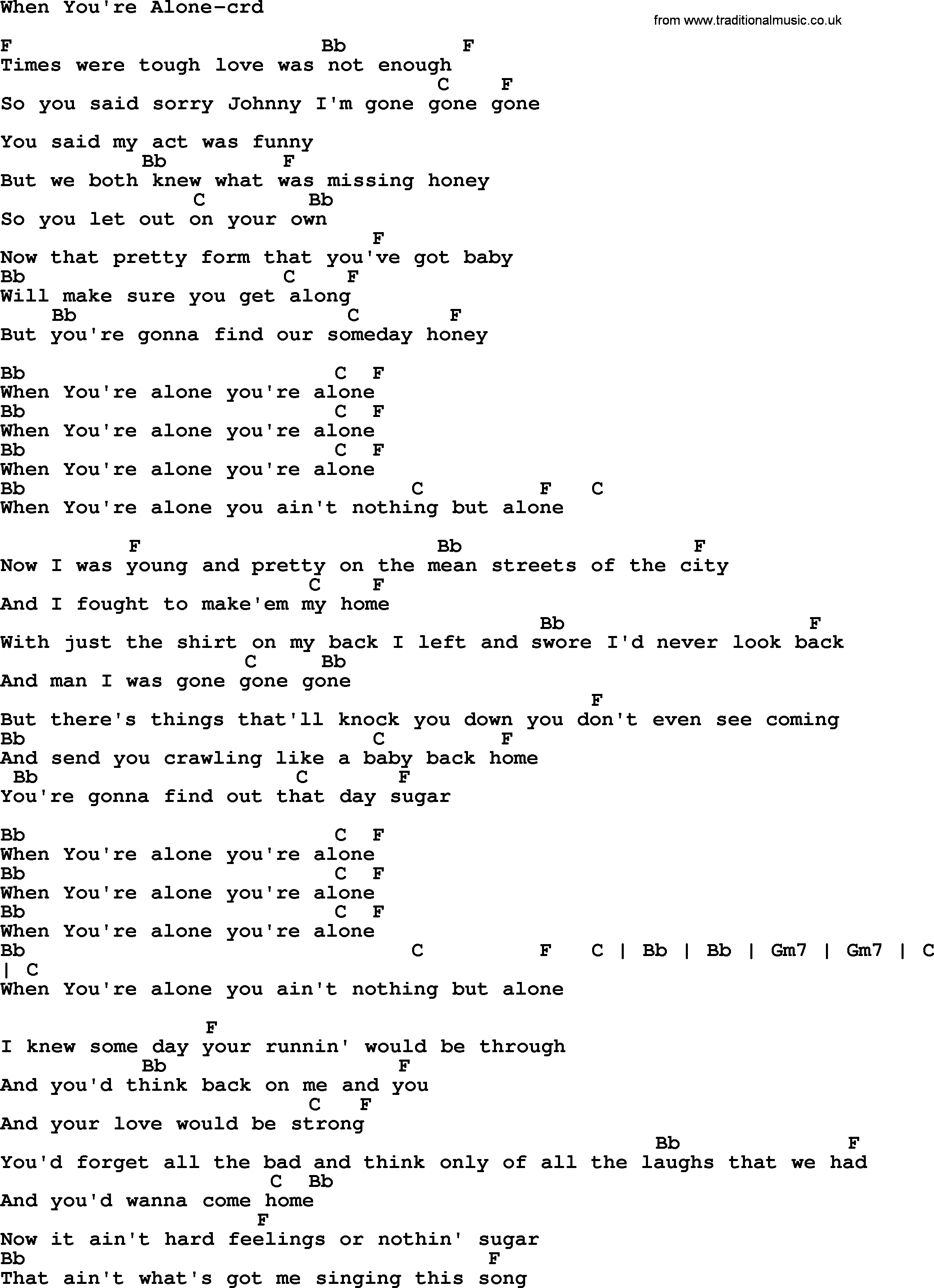 Springsteen song when youre alone lyrics and chords bruce springsteen song when youre alone lyrics and chords hexwebz Image collections