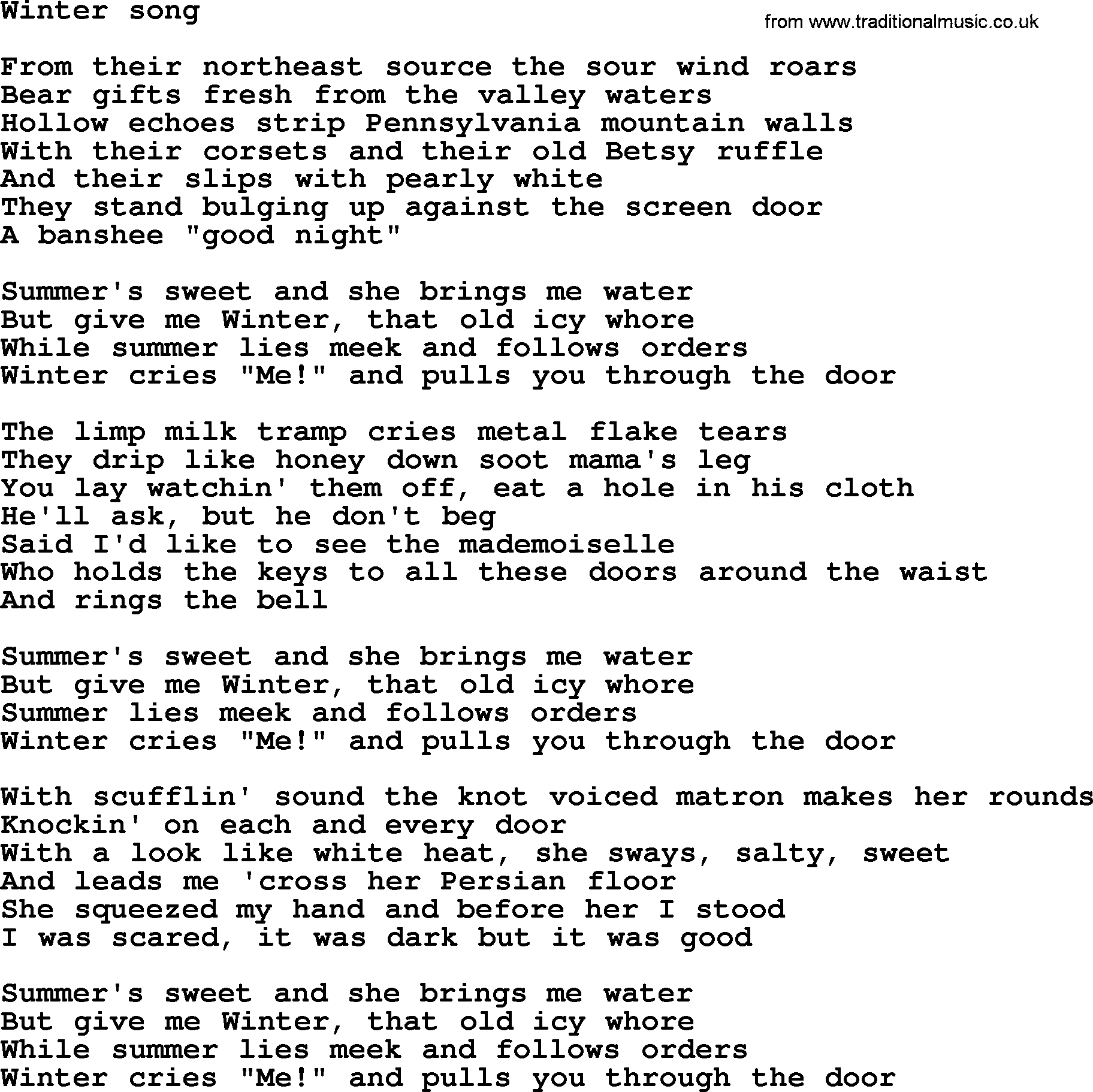 bruce springsteen song winter song lyrics. Black Bedroom Furniture Sets. Home Design Ideas