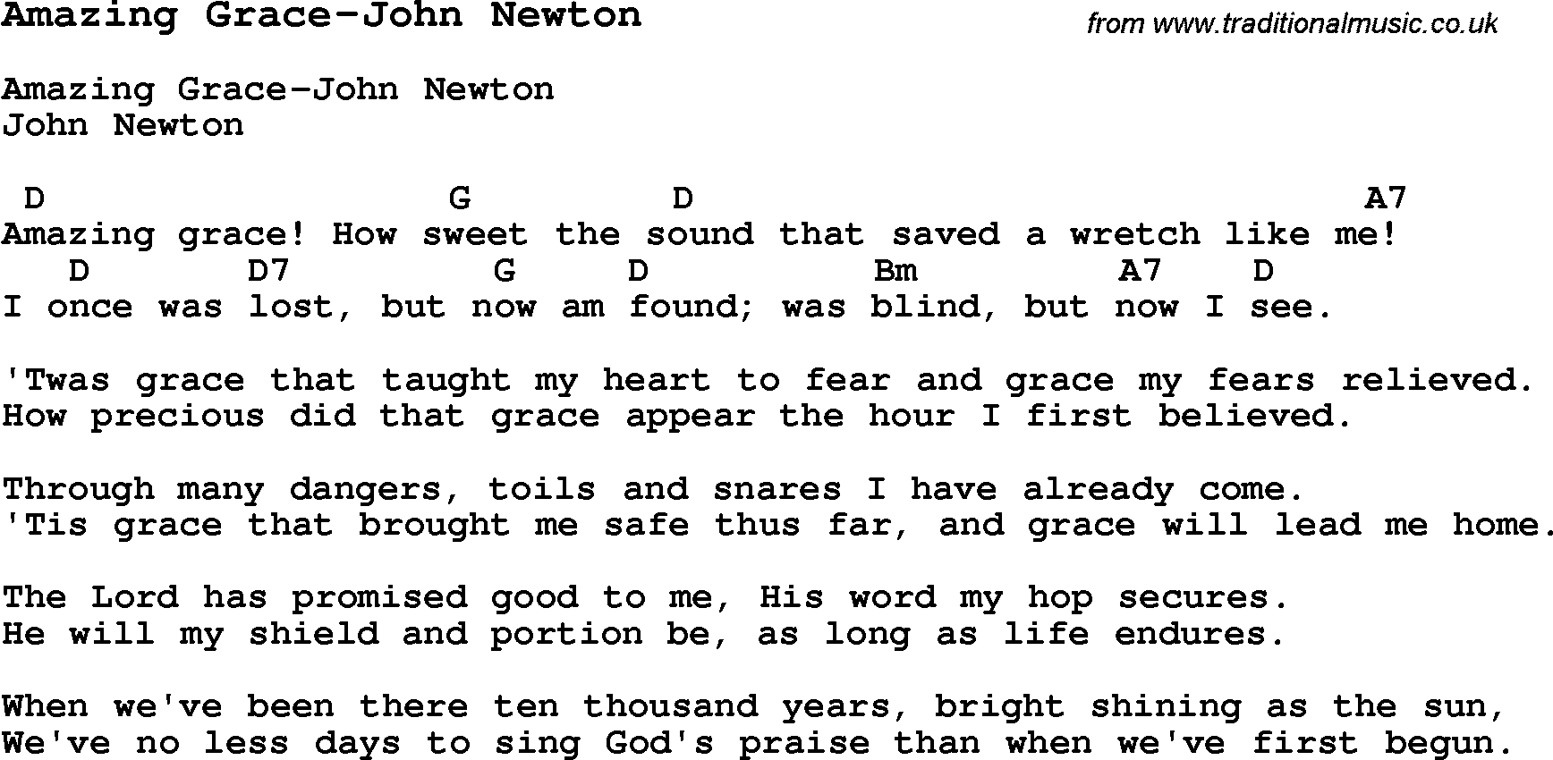 Summer Camp Song, Amazing Grace-John Newton, with lyrics and chords for Ukulele, Guitar, Banjo etc.