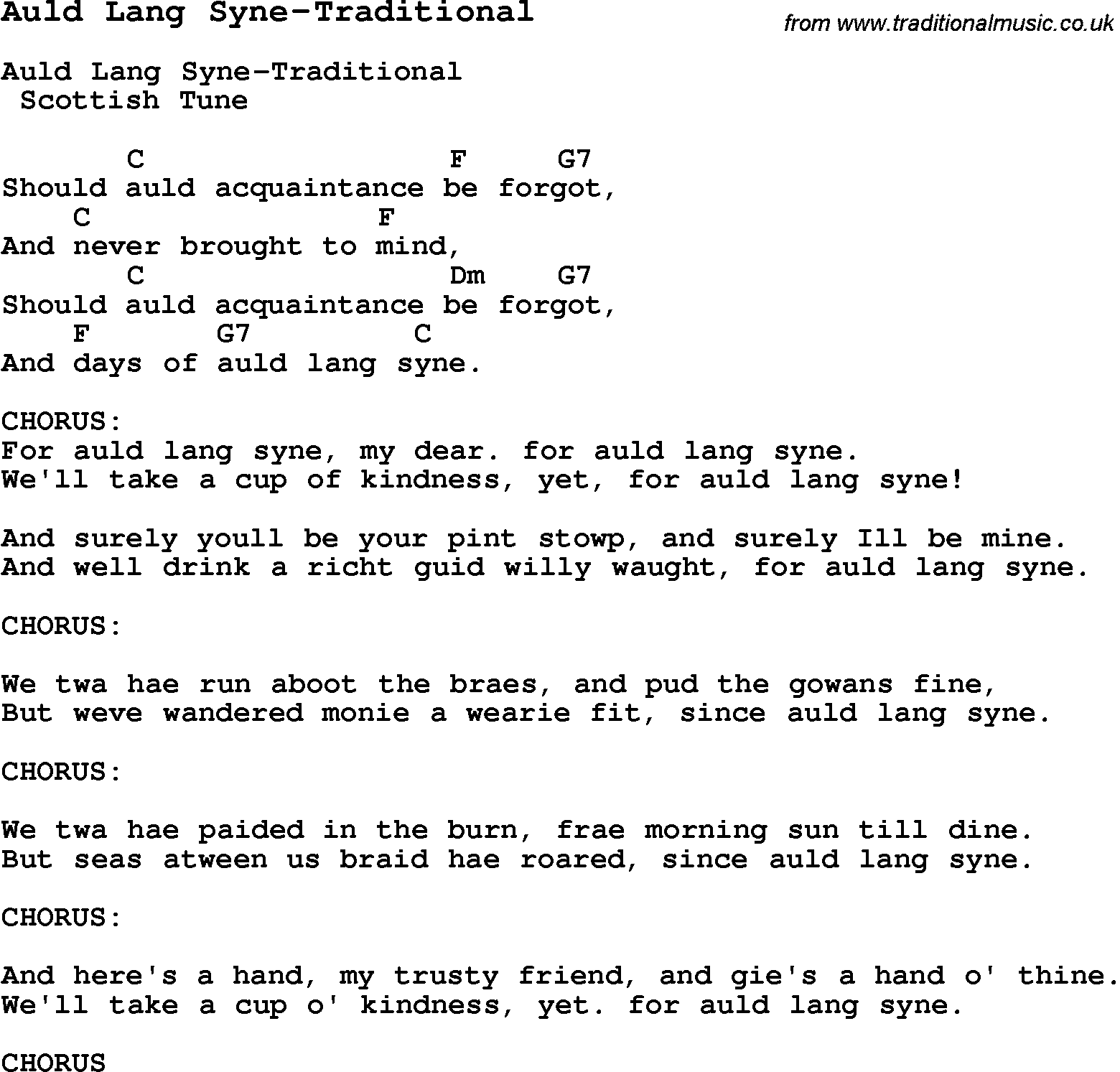 Summer Camp Song, Auld Lang Syne-Traditional, with lyrics and chords for Ukulele, Guitar, Banjo etc.