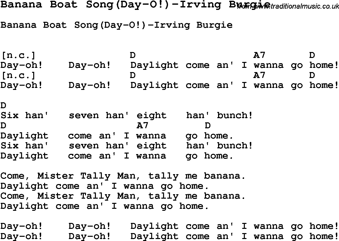 Summer camp song banana boat songday o irving burgie with summer camp song banana boat songday o irving hexwebz Image collections