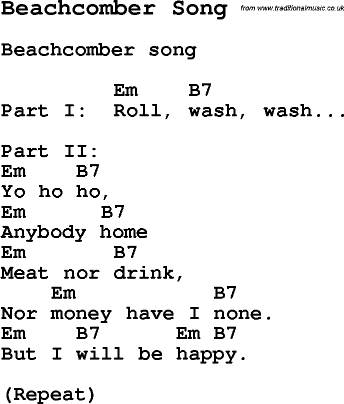 Summer Camp Song, Beachcomber Song, with lyrics and chords for ...
