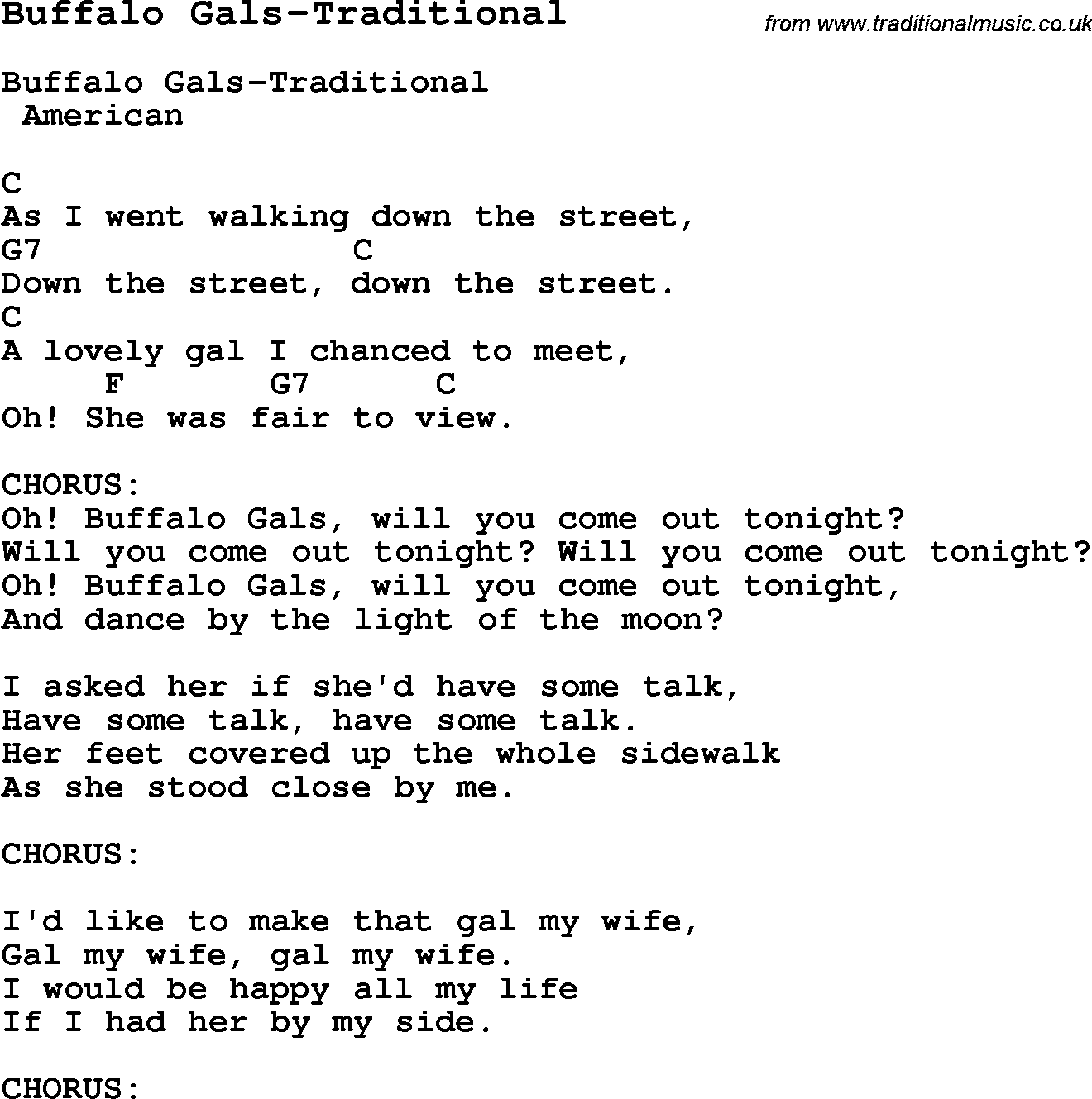 Summer Camp Song, Buffalo Gals-Traditional, with lyrics and