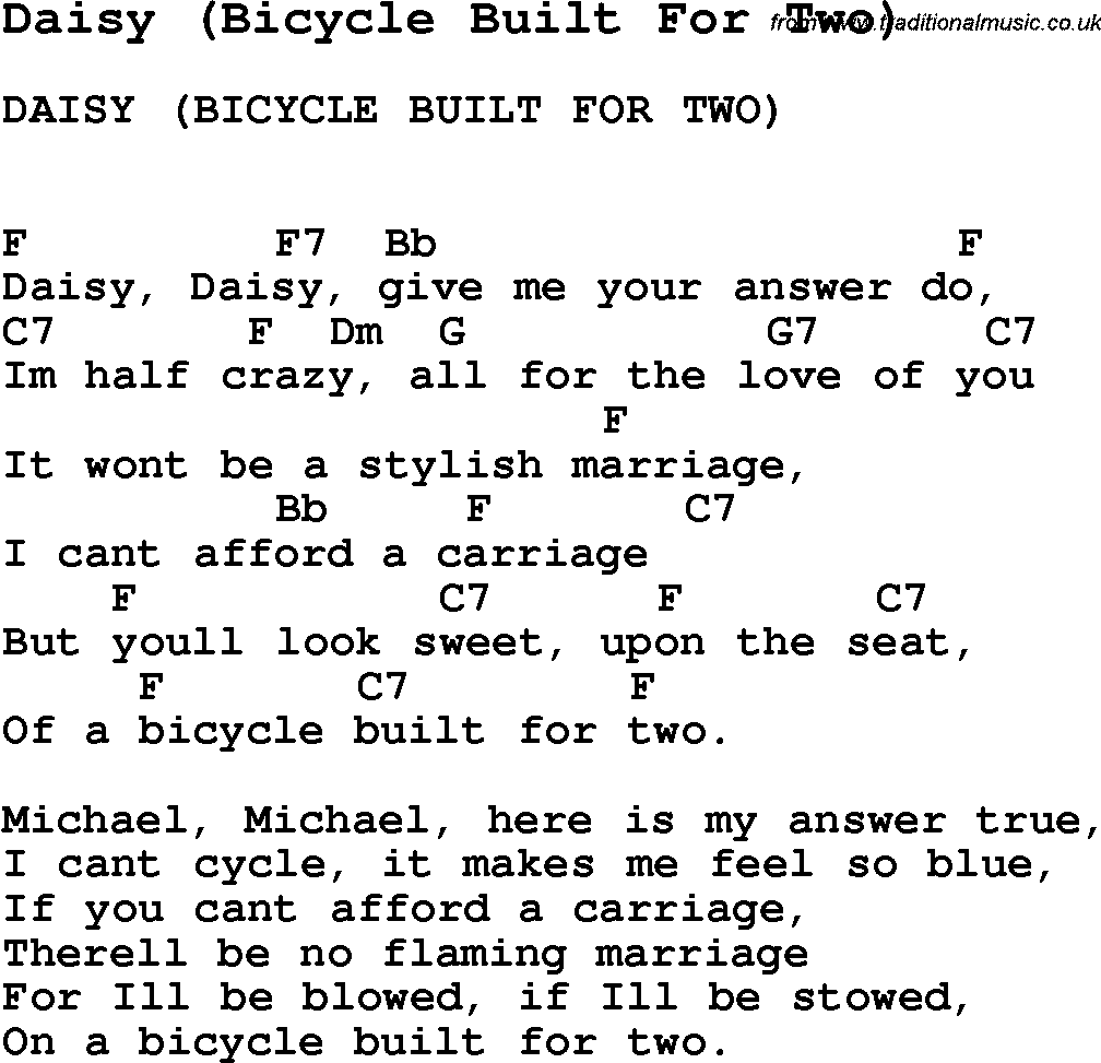 Summer camp song daisy bicycle built for two with lyrics and summer camp song daisy bicycle built for two with lyrics and chords for ukulele guitar banjo etc hexwebz Images