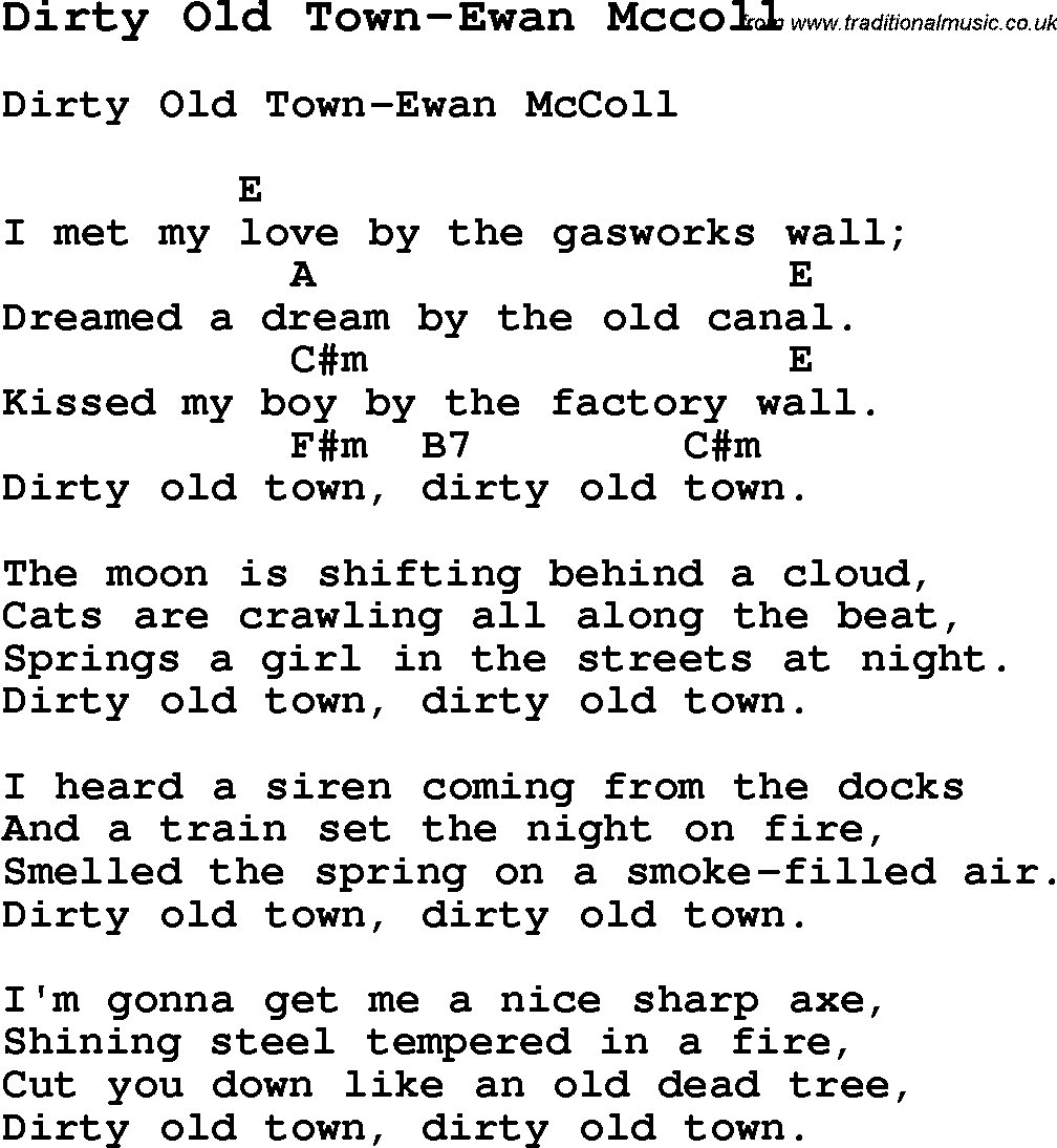 Summer camp song dirty old town ewan mccoll with lyrics and summer camp song dirty old town ewan mccoll with lyrics and chords hexwebz Image collections