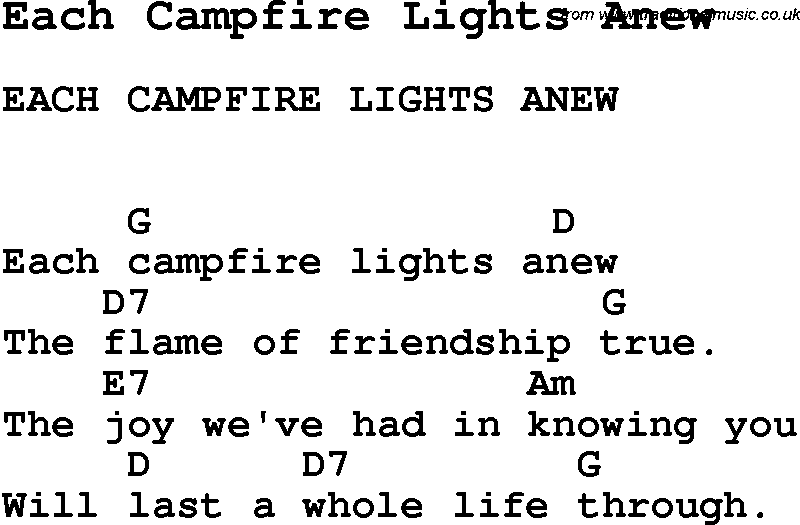 Summer Camp Song, Each Campfire Lights Anew, with lyrics and chords ...