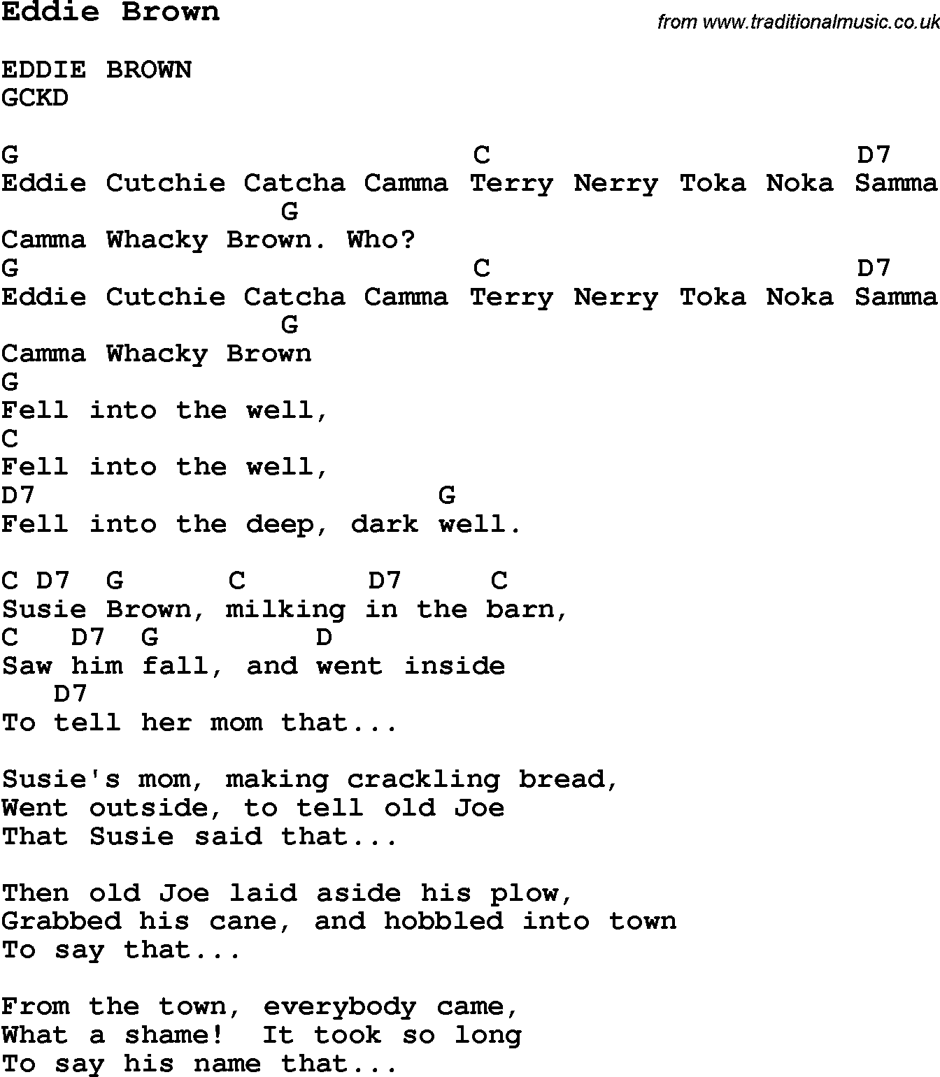 Summer Camp Song, Eddie Brown, with lyrics and chords for