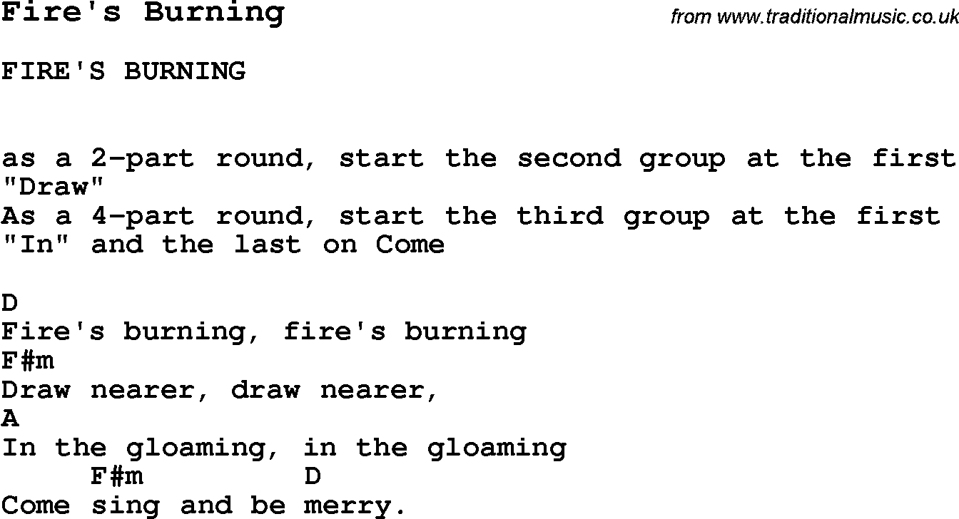 Summer Camp Song, Fire's Burning, with lyrics and chords for