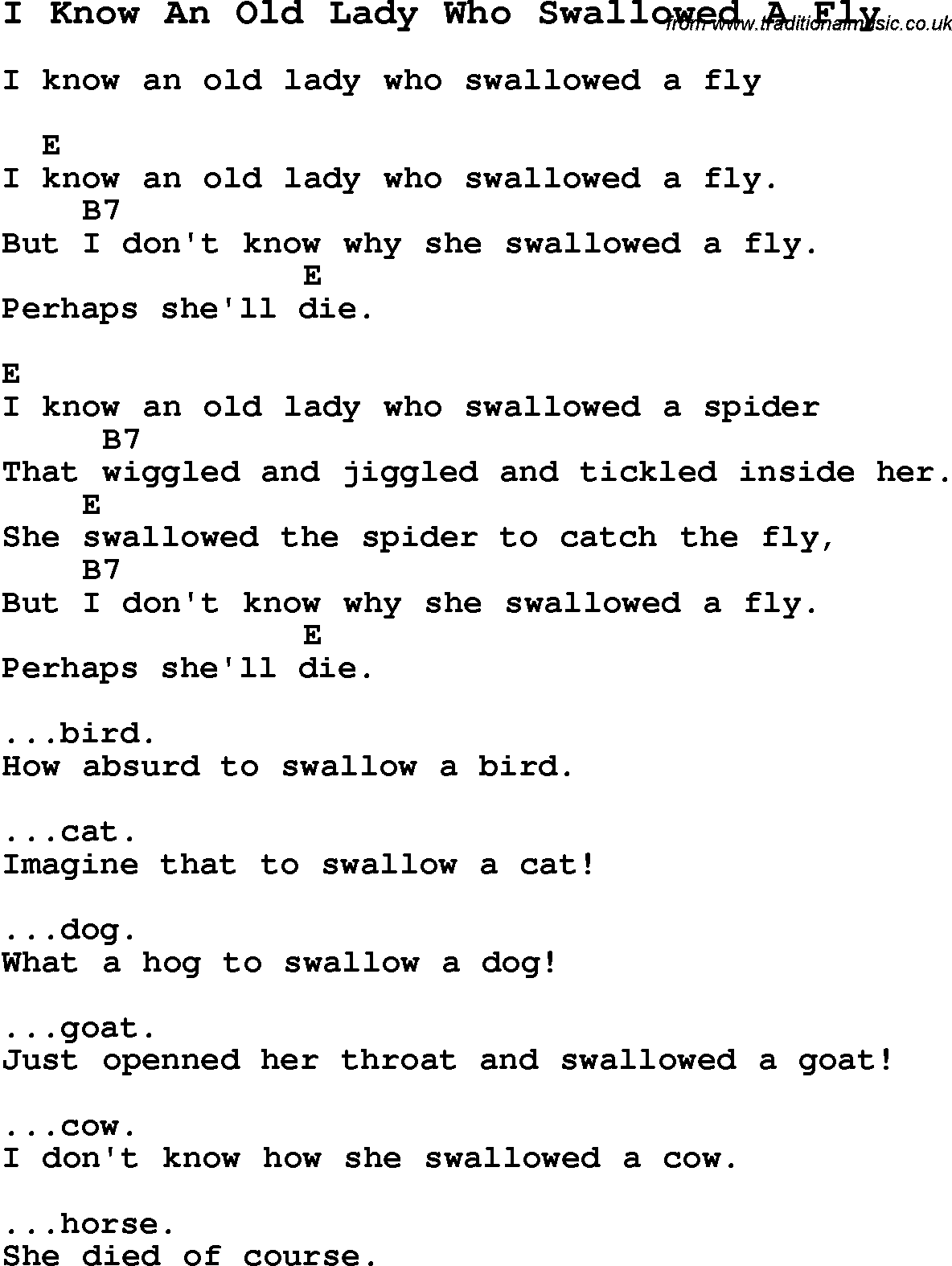 Flipper - The Old Lady Who Swallowed A Fly Lyrics ...