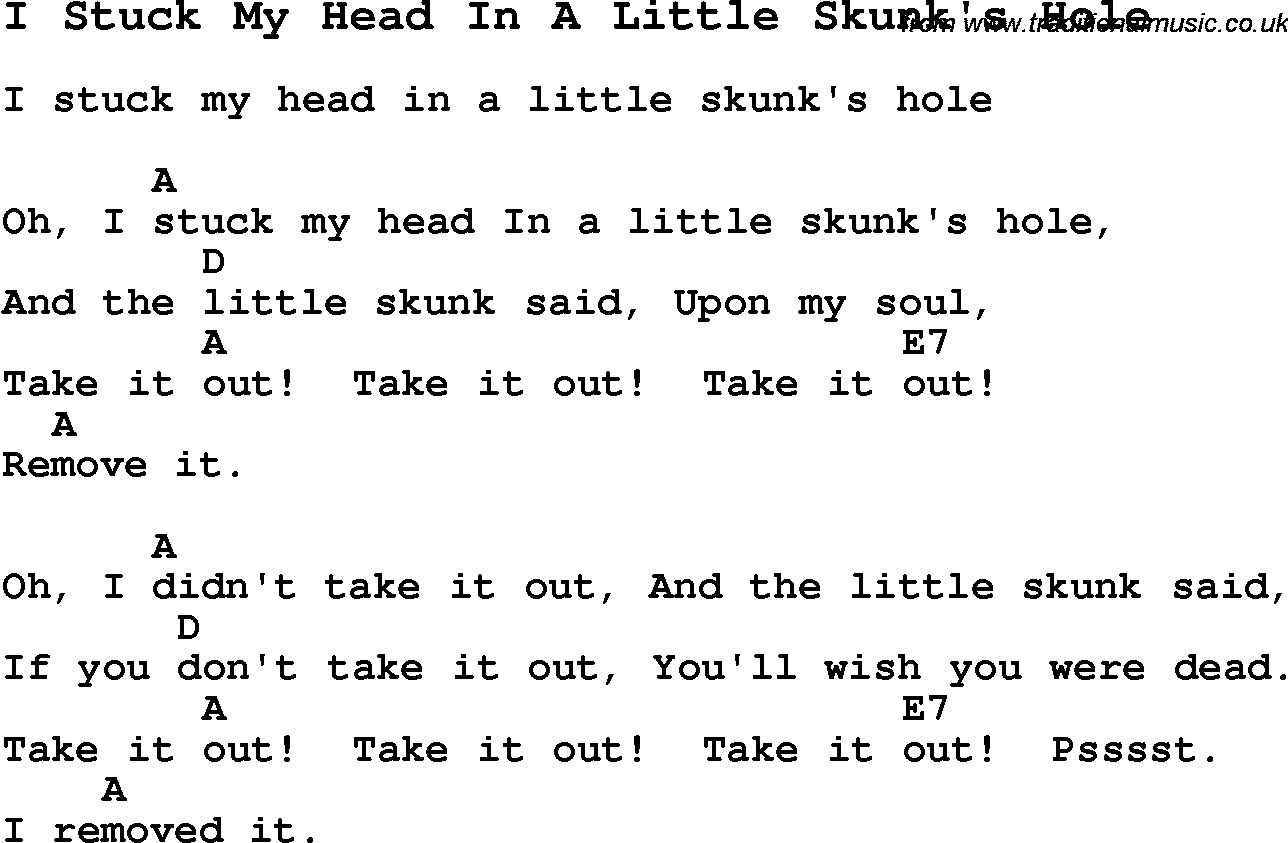Summer Camp Song I Stuck My Head In A Little Skunks Hole With