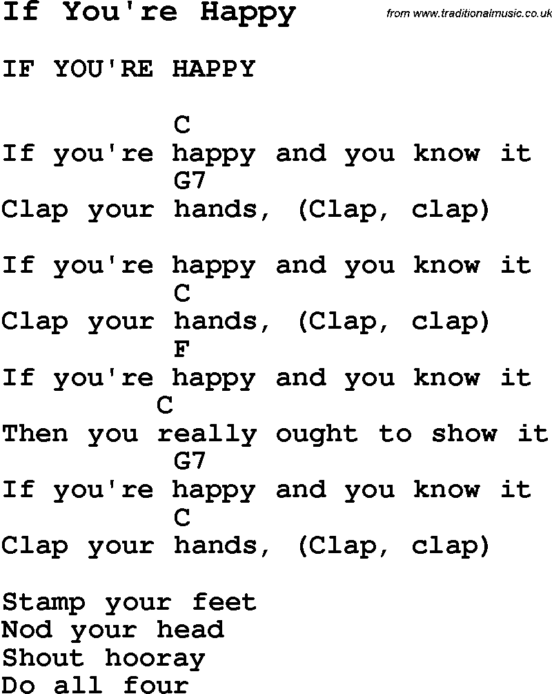 Summer Camp Song If You re Happy with lyrics and chords for Ukulele Gu