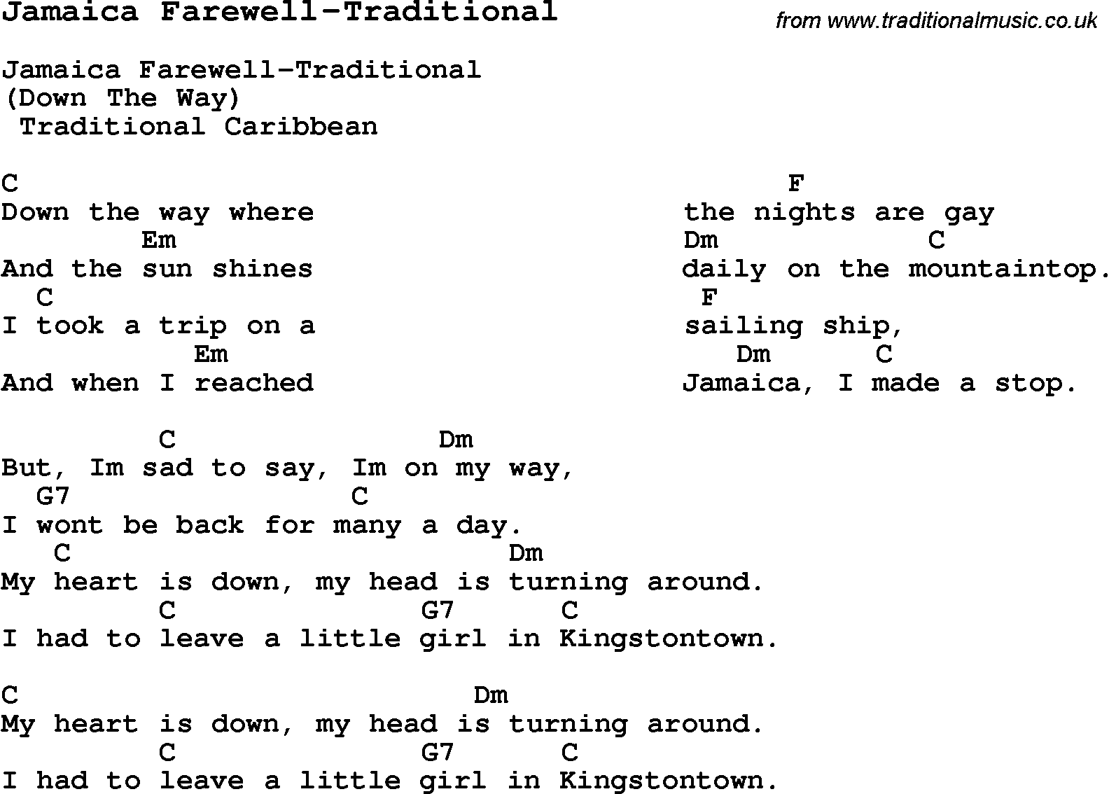 Summer camp song jamaica farewell traditional with lyrics and summer camp song jamaica farewell traditional with lyrics and chords for ukulele hexwebz Image collections