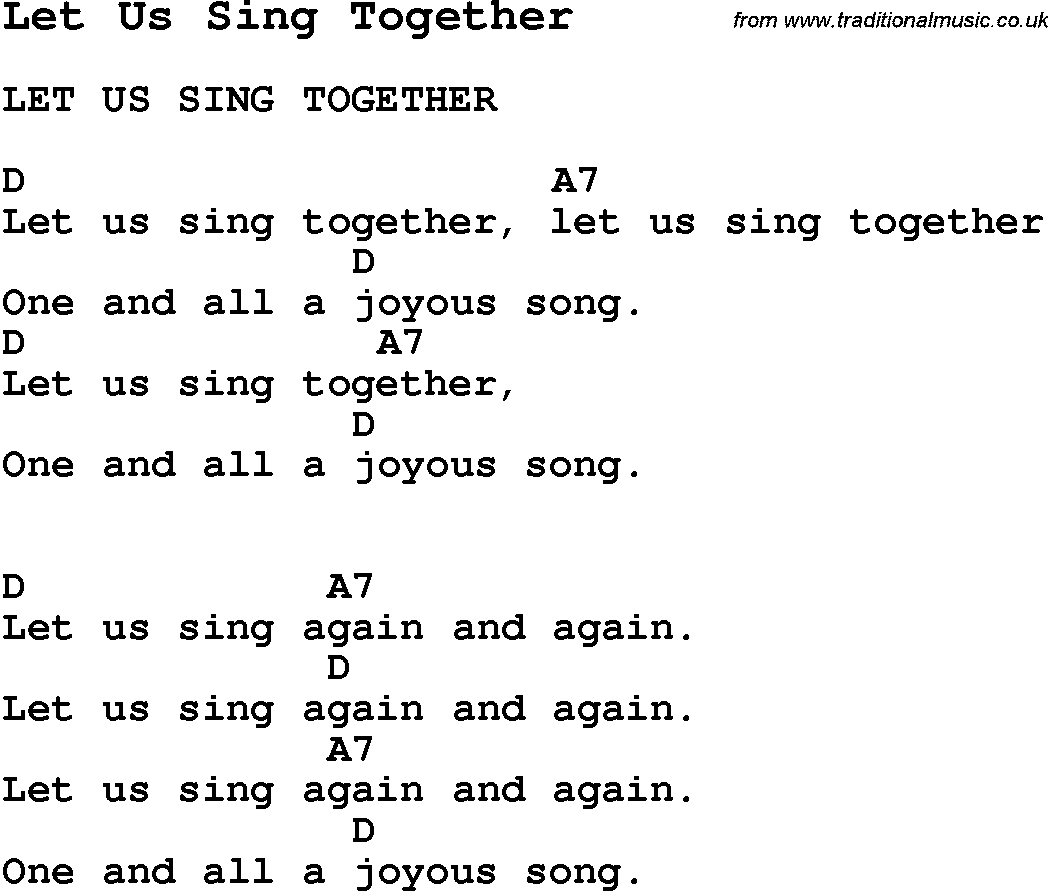 Summer Camp Song Let Us Sing Together With Lyrics And Chords For