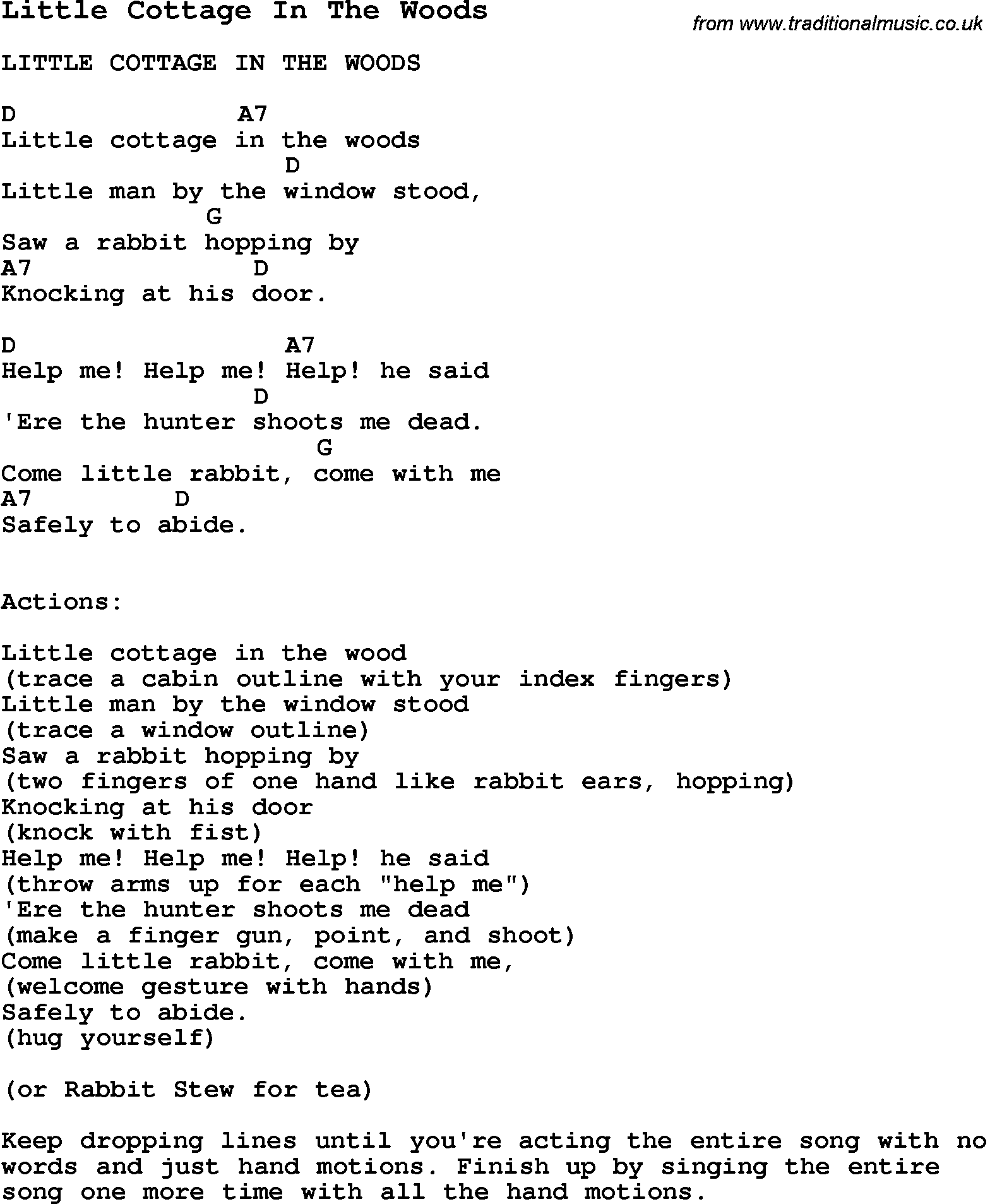 Summer Camp Song, Little Cottage In The Woods, with lyrics and