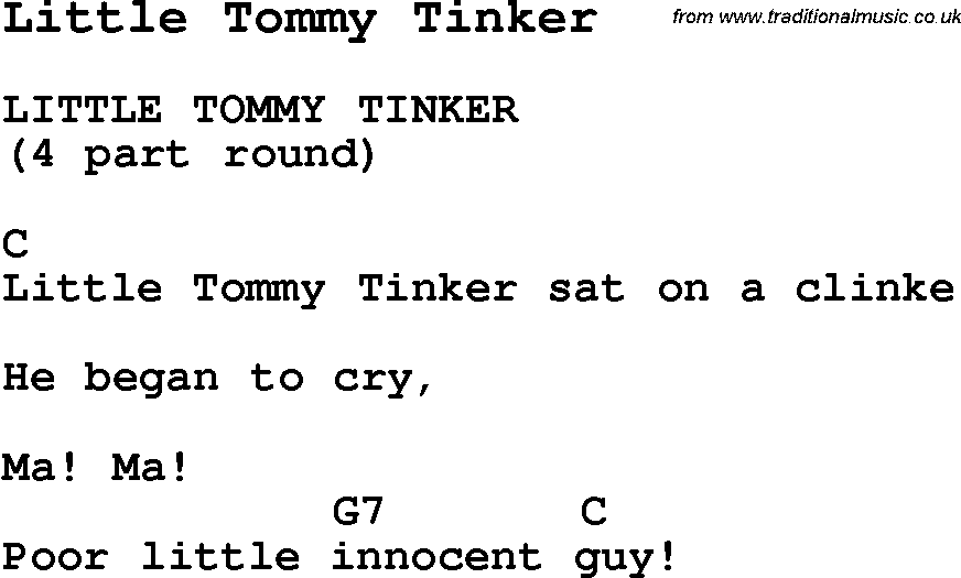 Summer Camp Song Little Tommy Tinker With Lyrics And Chords For