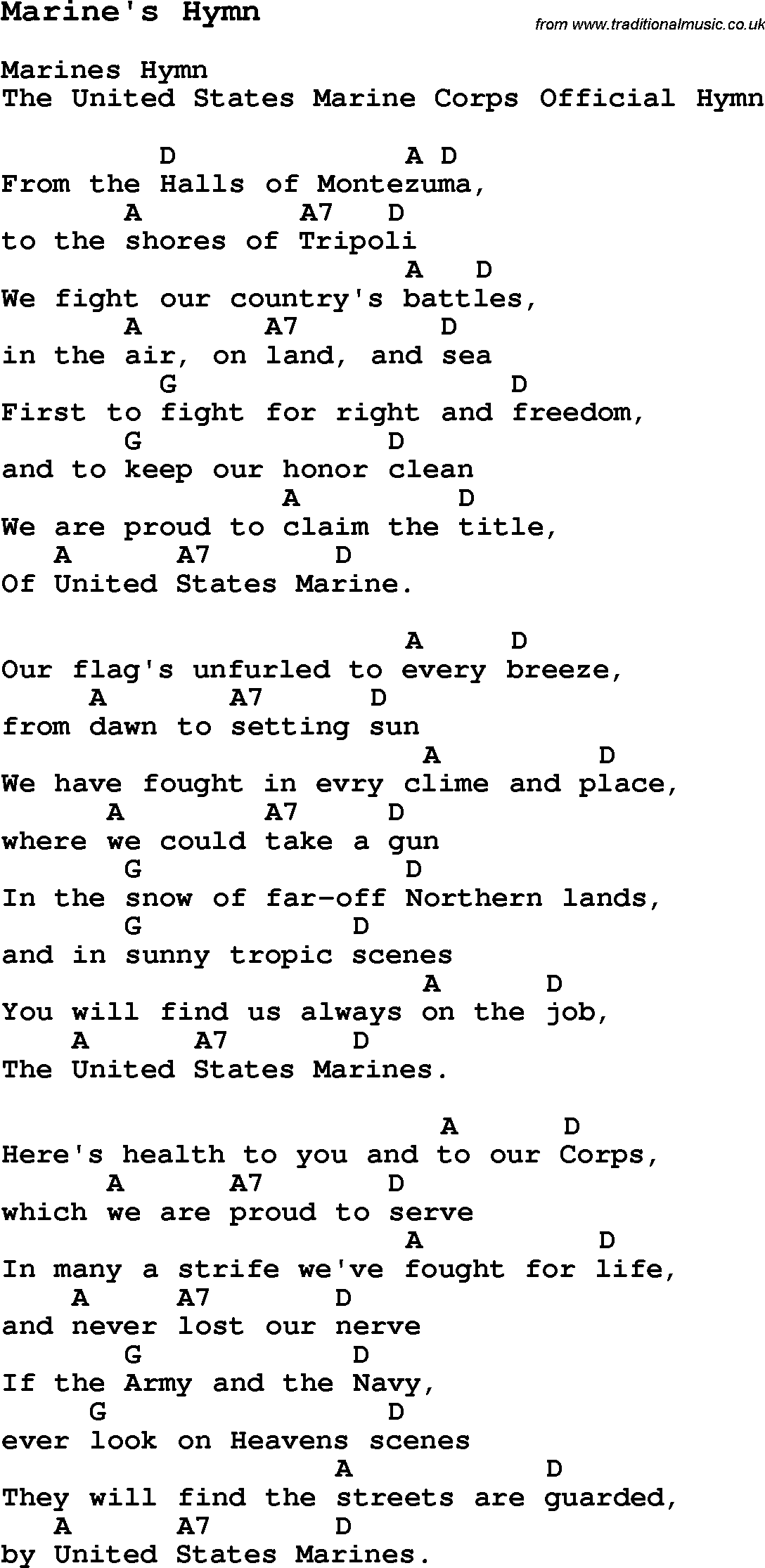 Summer Camp Song, Marine's Hymn, with lyrics and chords ...