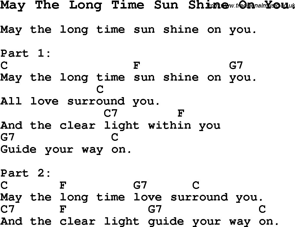 Summer Camp Song May The Long Time Sun Shine On You With Lyrics