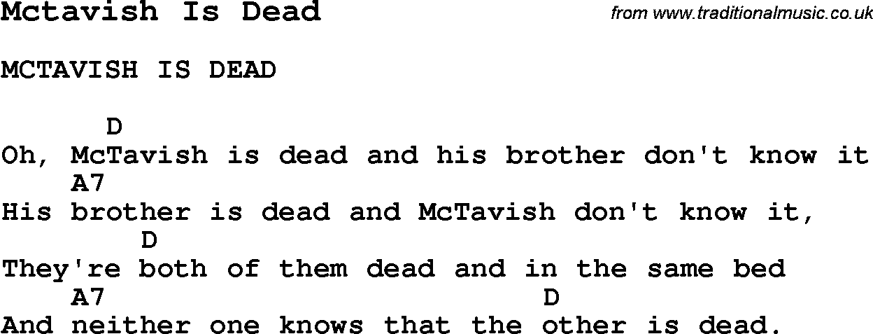 Summer Camp Song Mctavish Is Dead With Lyrics And Chords For