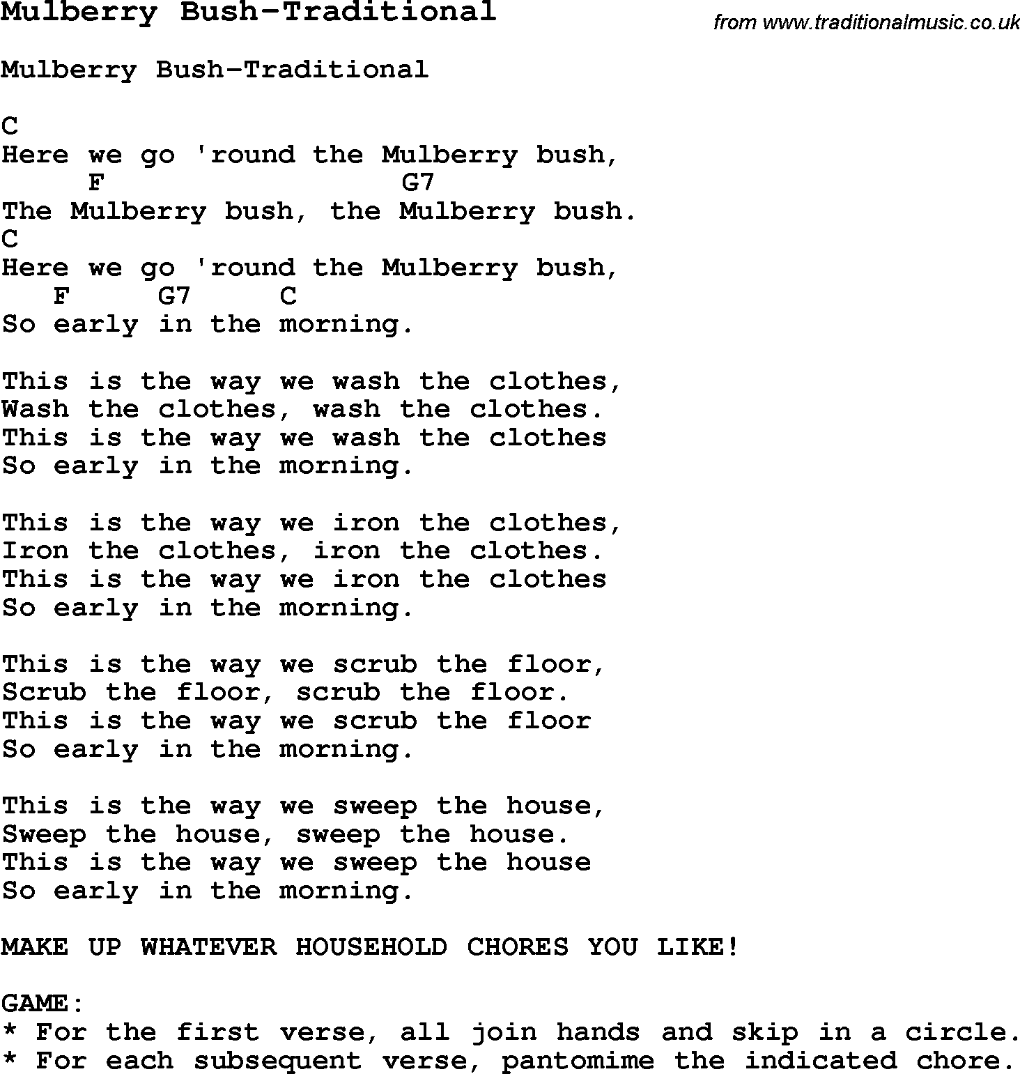 Summer Camp Song Mulberry Bush Traditional With Lyrics And Chords