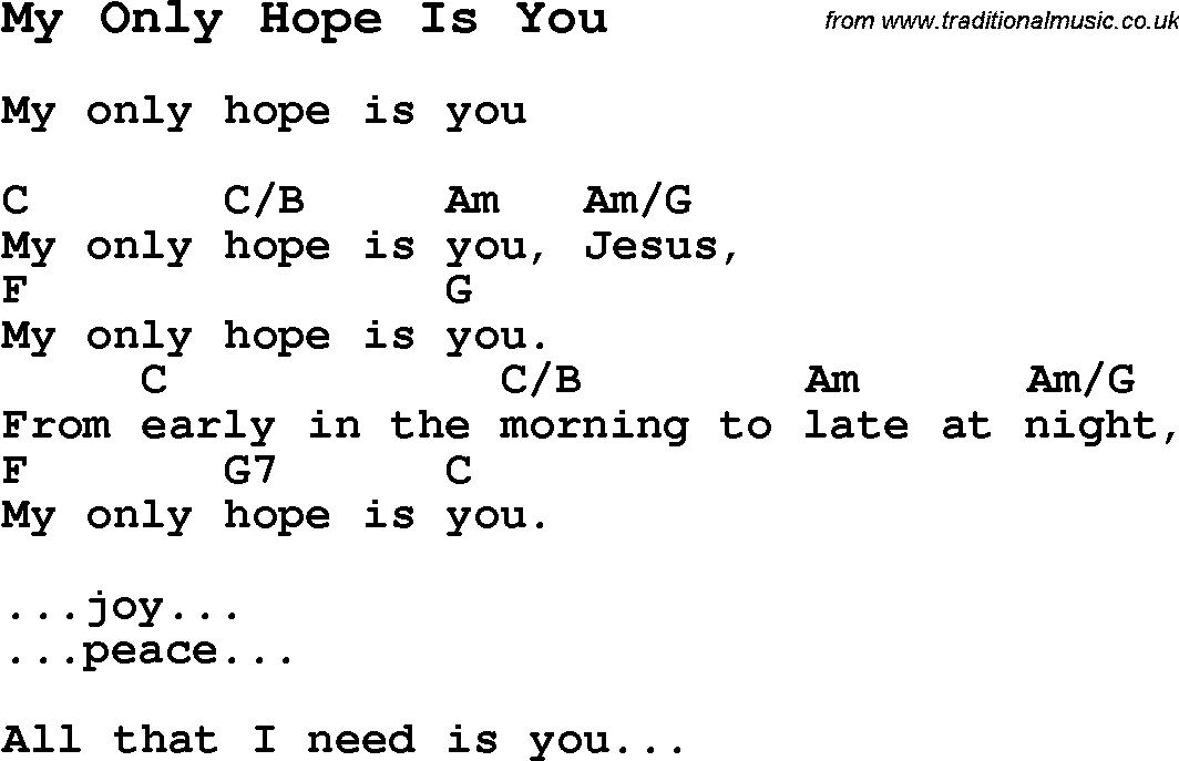 Summer Camp Song My Only Hope Is You With Lyrics And Chords For