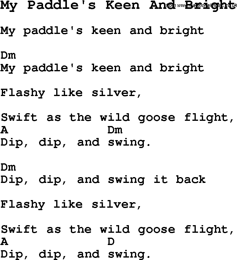 Summer Camp Song, My Paddle\'s Keen And Bright, with lyrics and ...