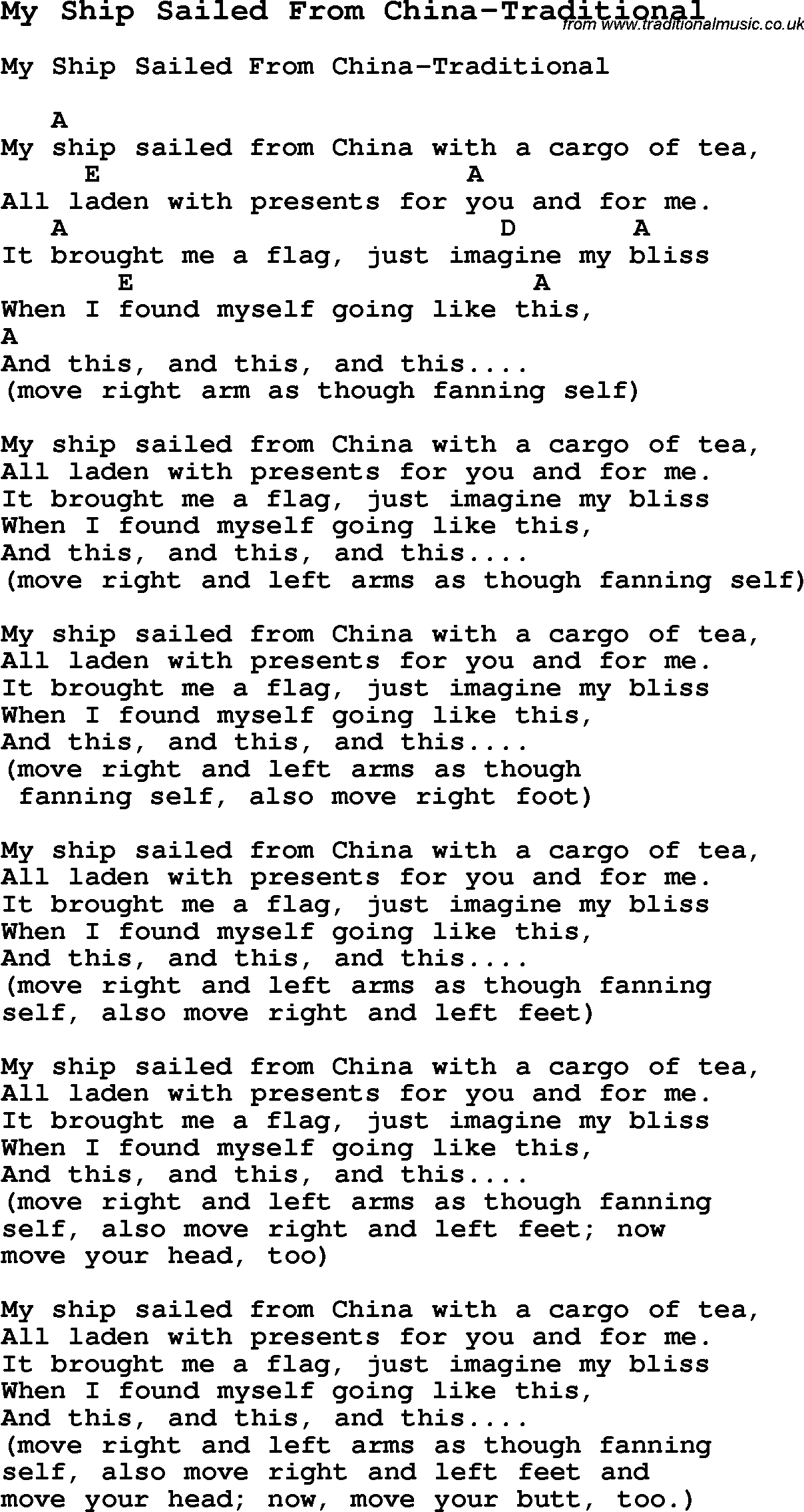 Summer Camp Song, My Ship Sailed From China-Traditional
