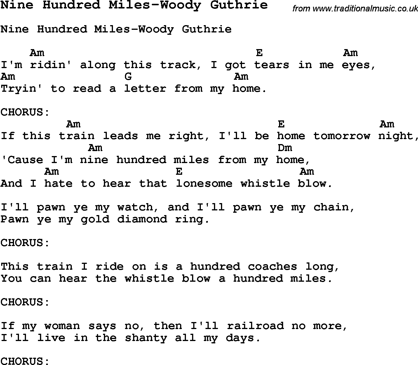 Summer Camp Song Nine Hundred MilesWoody Guthrie With Lyrics And