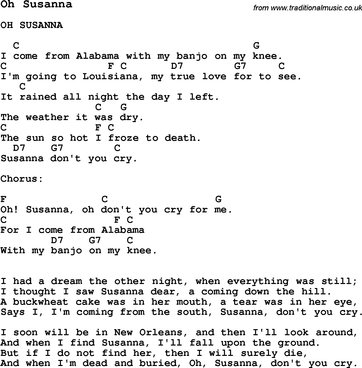 Summer Camp Song Oh Susanna With Lyrics And Chords For Ukulele