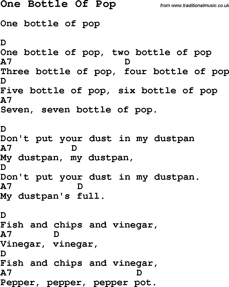Summer camp song one bottle of pop with lyrics and chords for summer camp song one bottle of pop with lyrics and chords for ukulele hexwebz Image collections